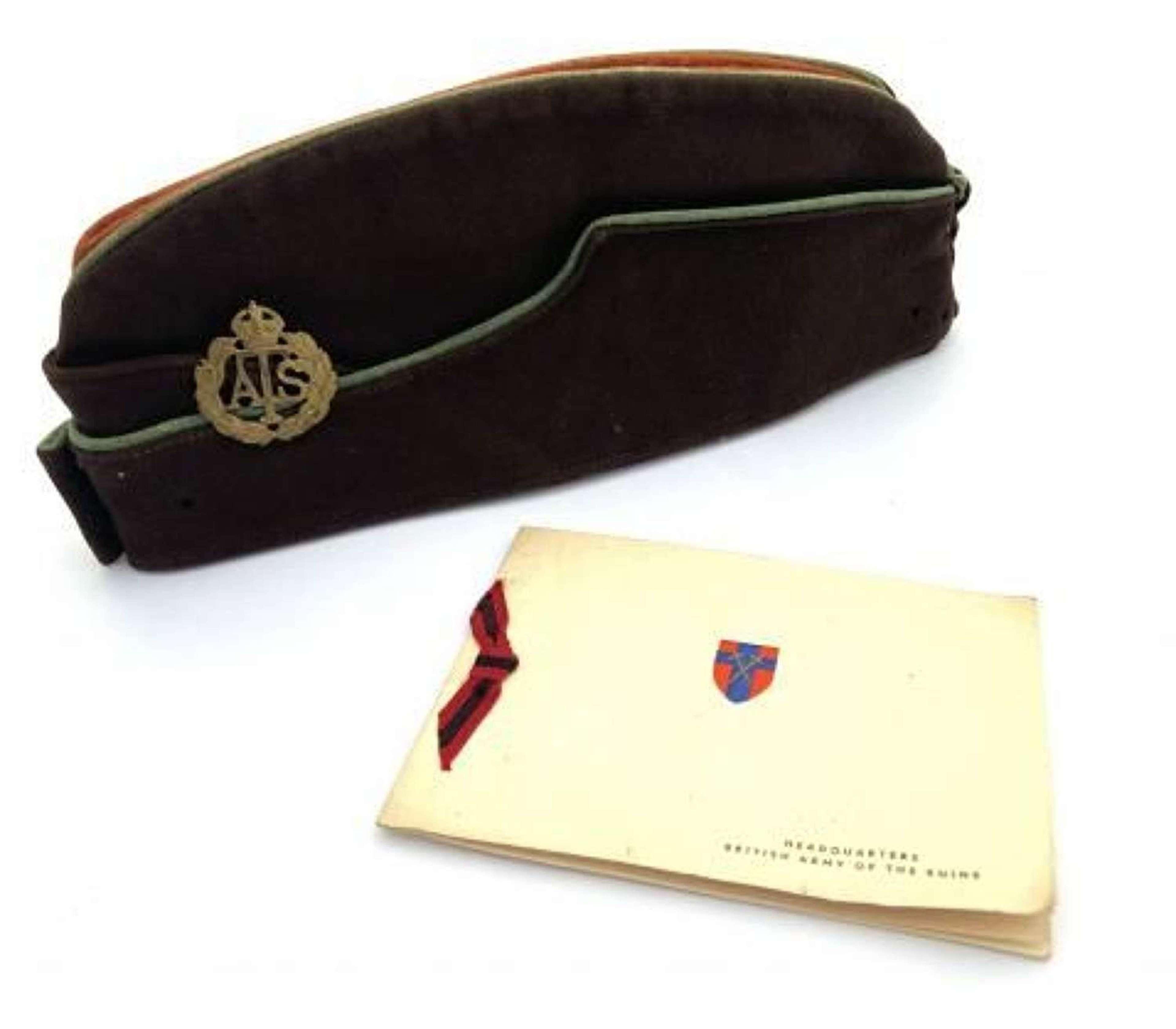 Original WW2 ATS Coloured Field Service Cap + Card