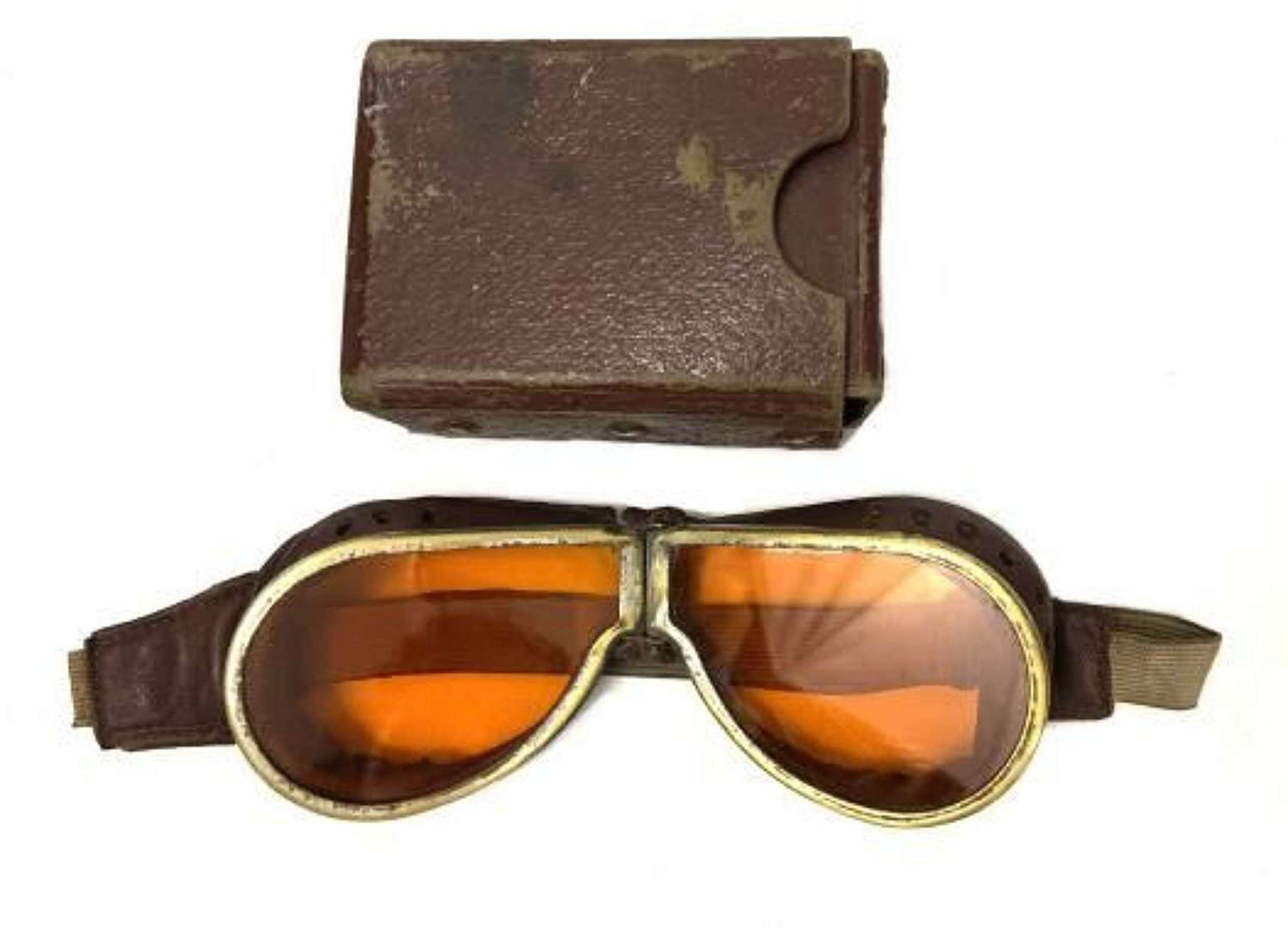 Original WW2 British Army MT Goggles and Case - Tinted Lenses