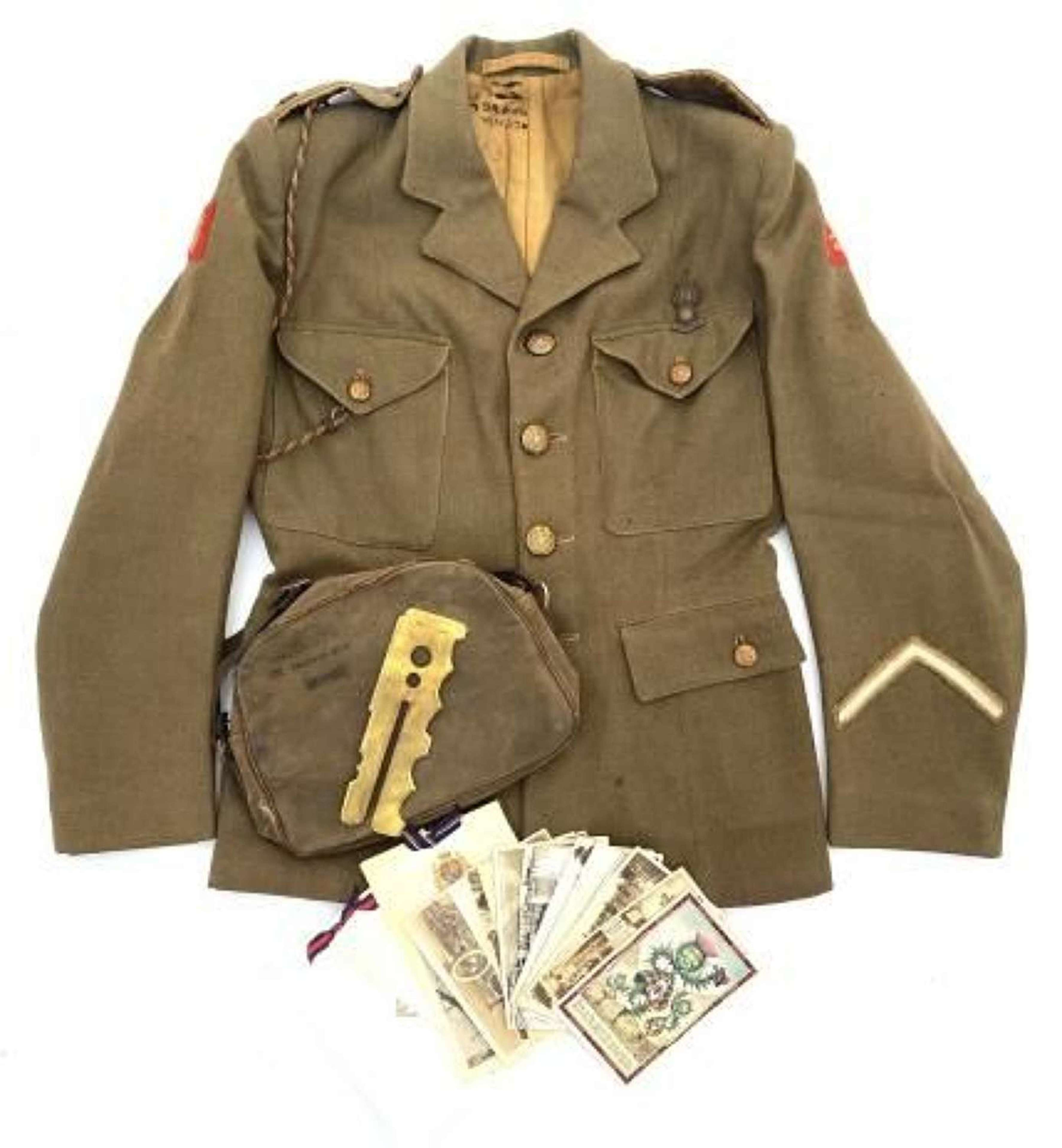 Original WW2 ATS 1942 Dated Scottish Command Tunic and Handbag Group