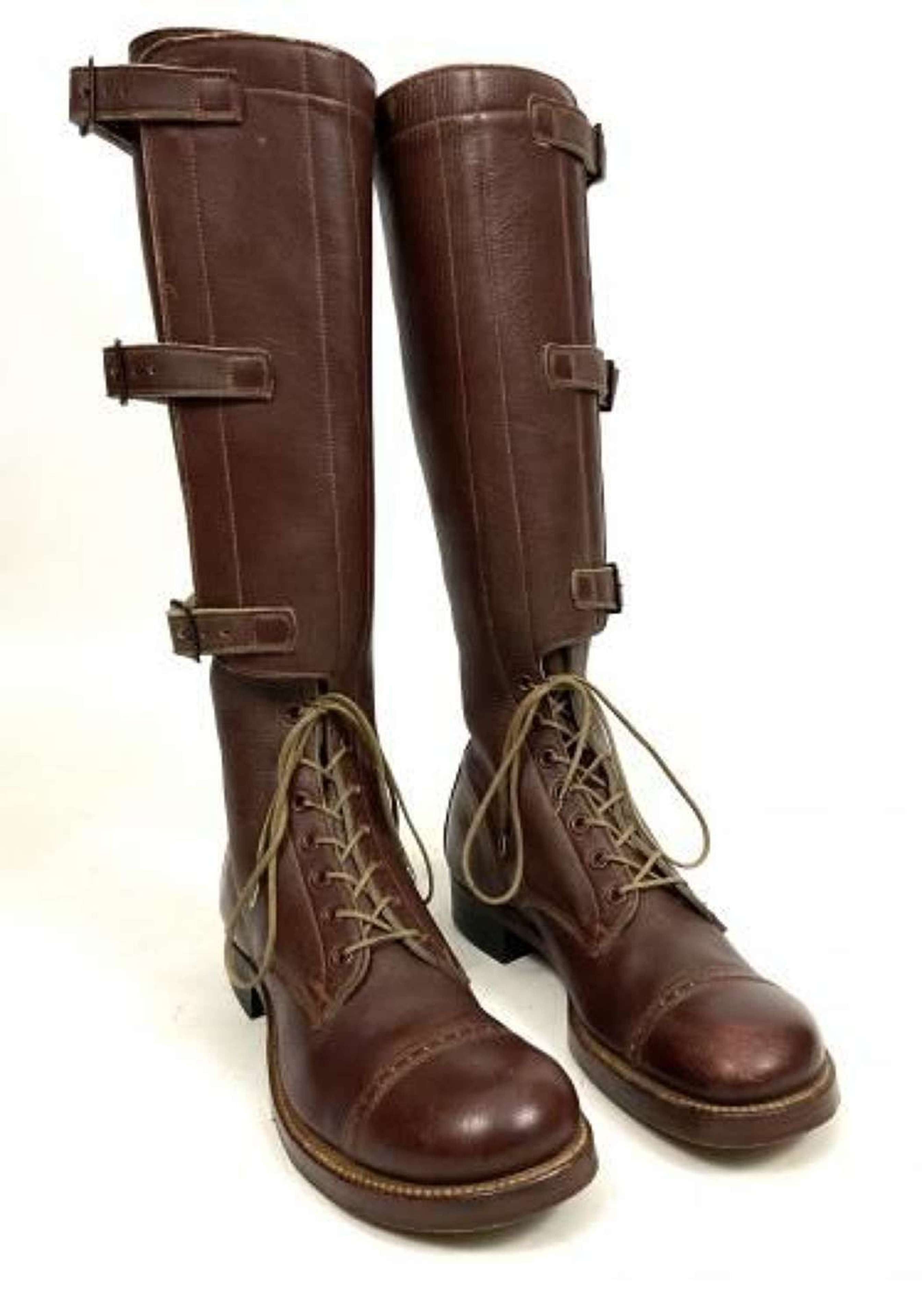 Original 1944 Dated US Army Boots, Field, Leather, Legging Top