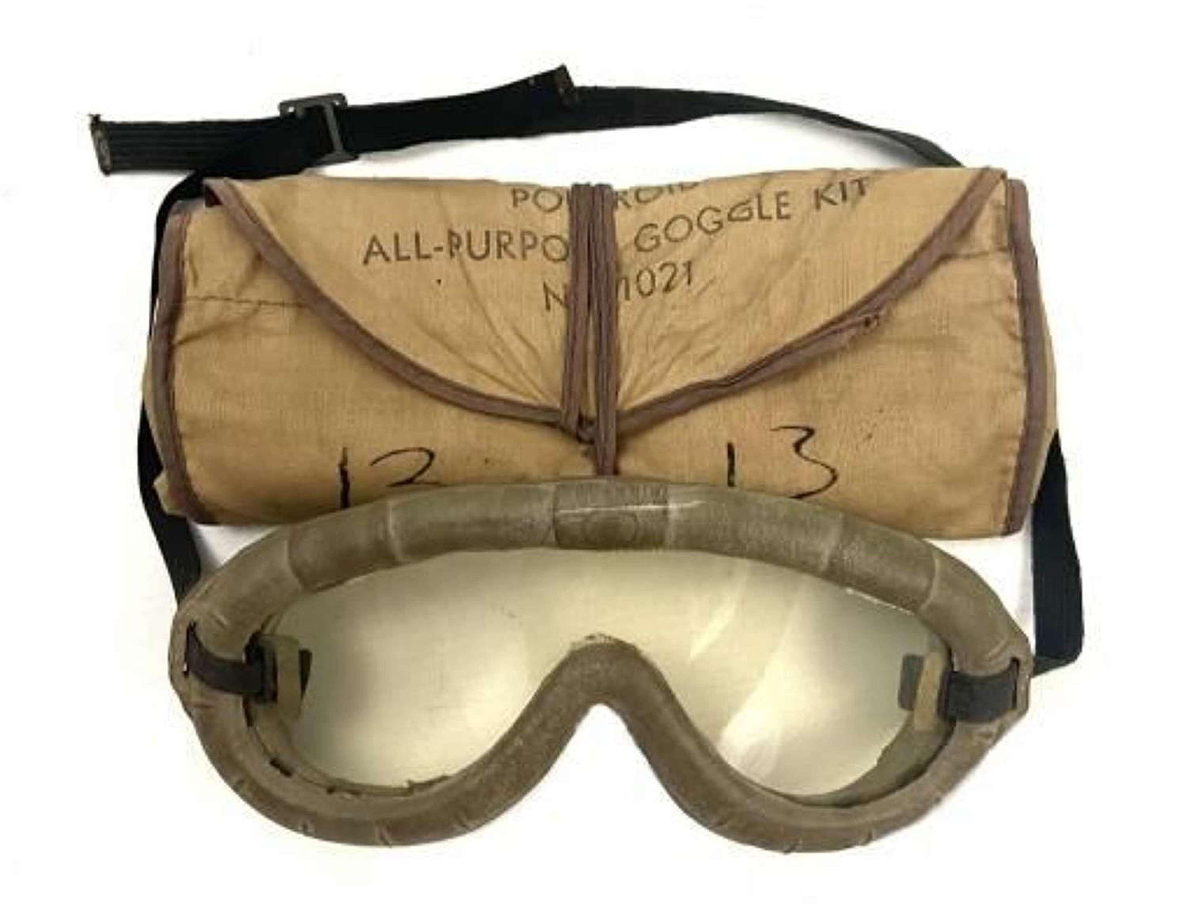 Original WW2 US Polaroid All Purpose Goggles, No 1021 + Case