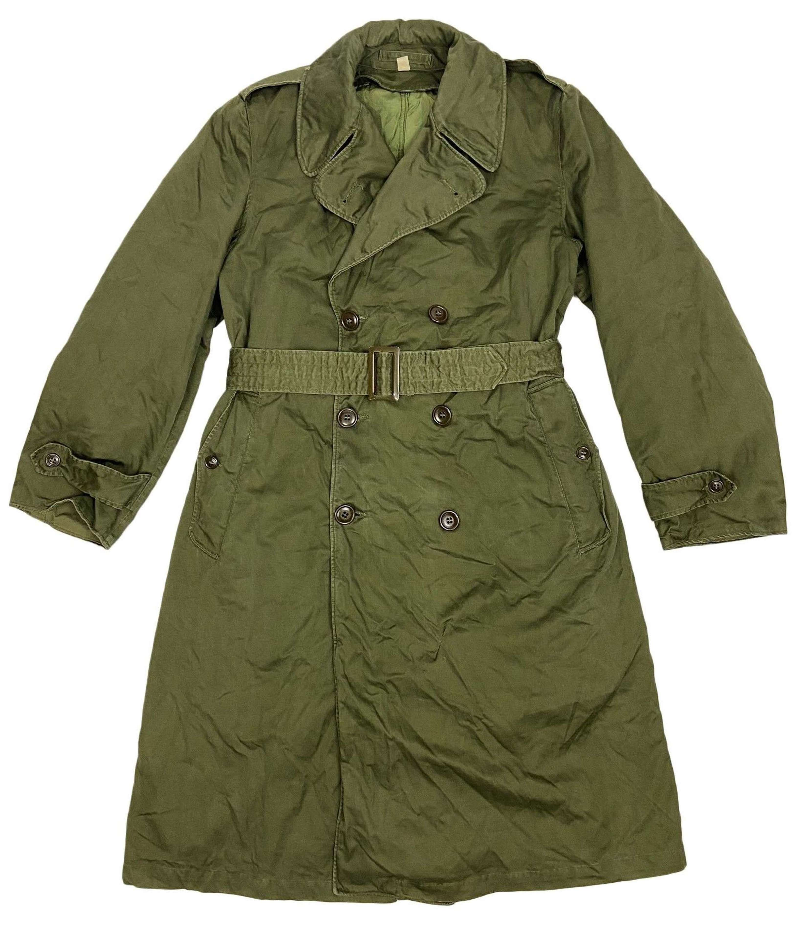 Original 1953 Dated US Army OG107 Raincoat - Size Regular Medium