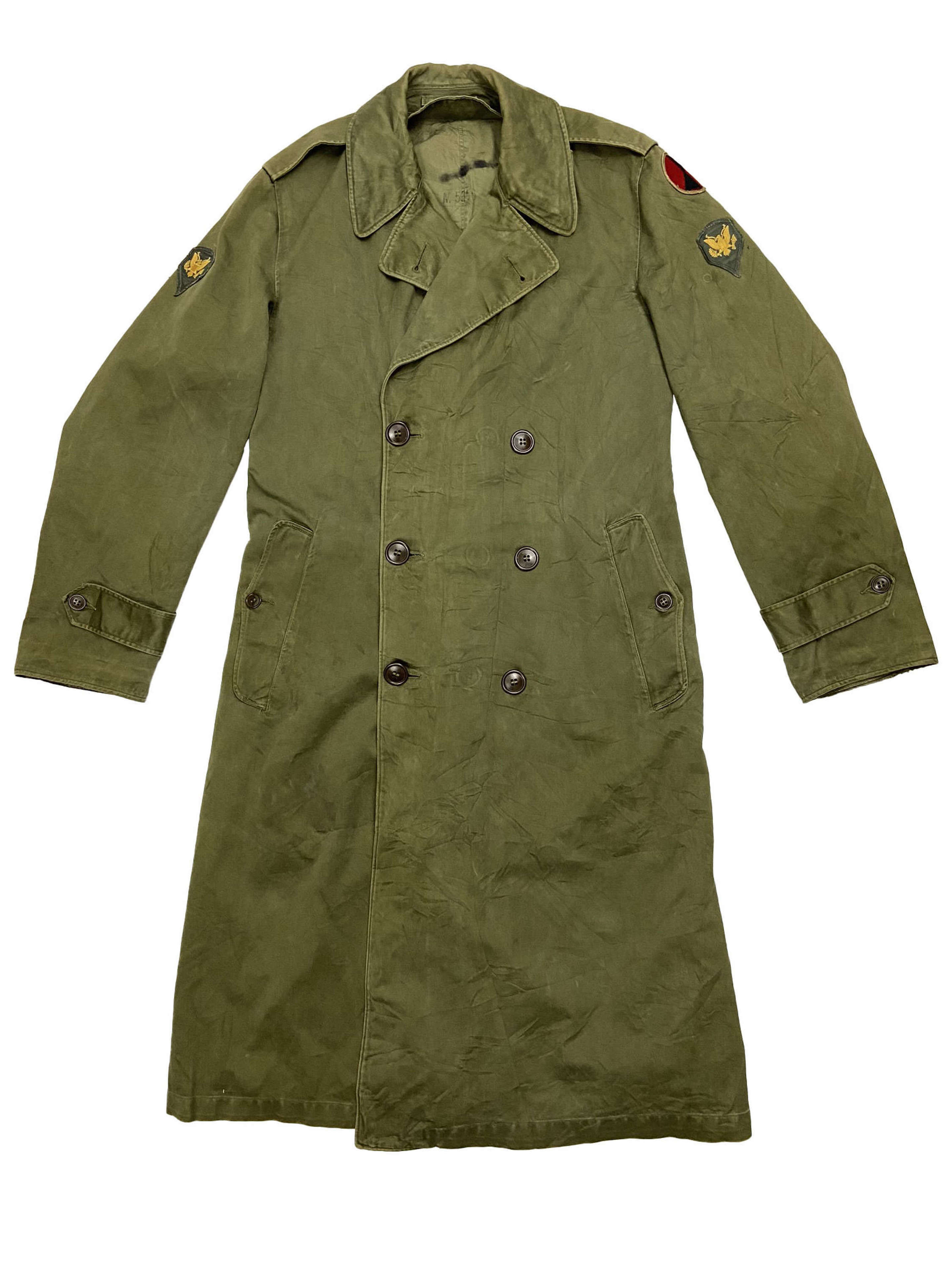 Original 1950s US Army O.G. 107 Raincoat - Size Small Long