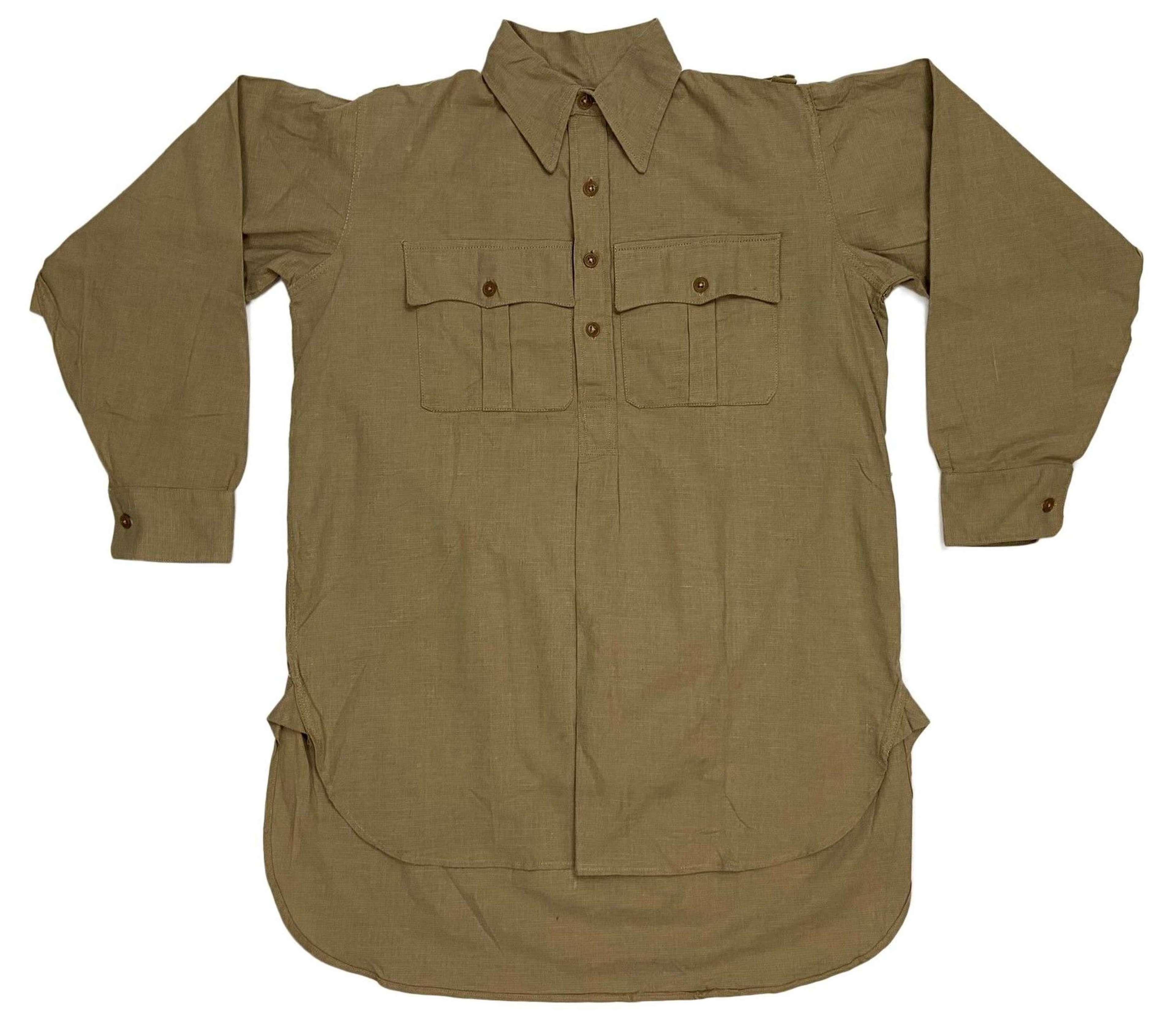 Original WW2 British Khaki Drill Cellular Cotton Shirt