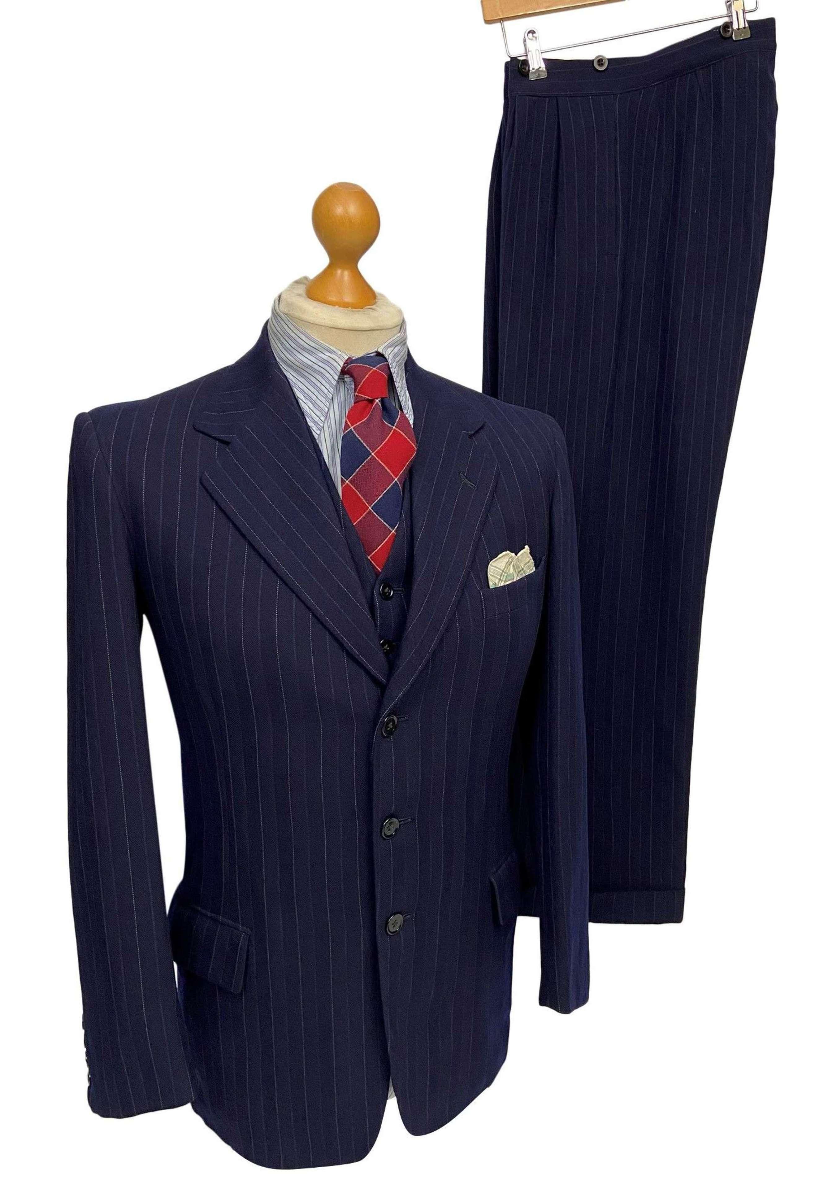 Original 1940s CC41 3 Piece Blue Pinstripe Suit by 'Arthur Gledhill'