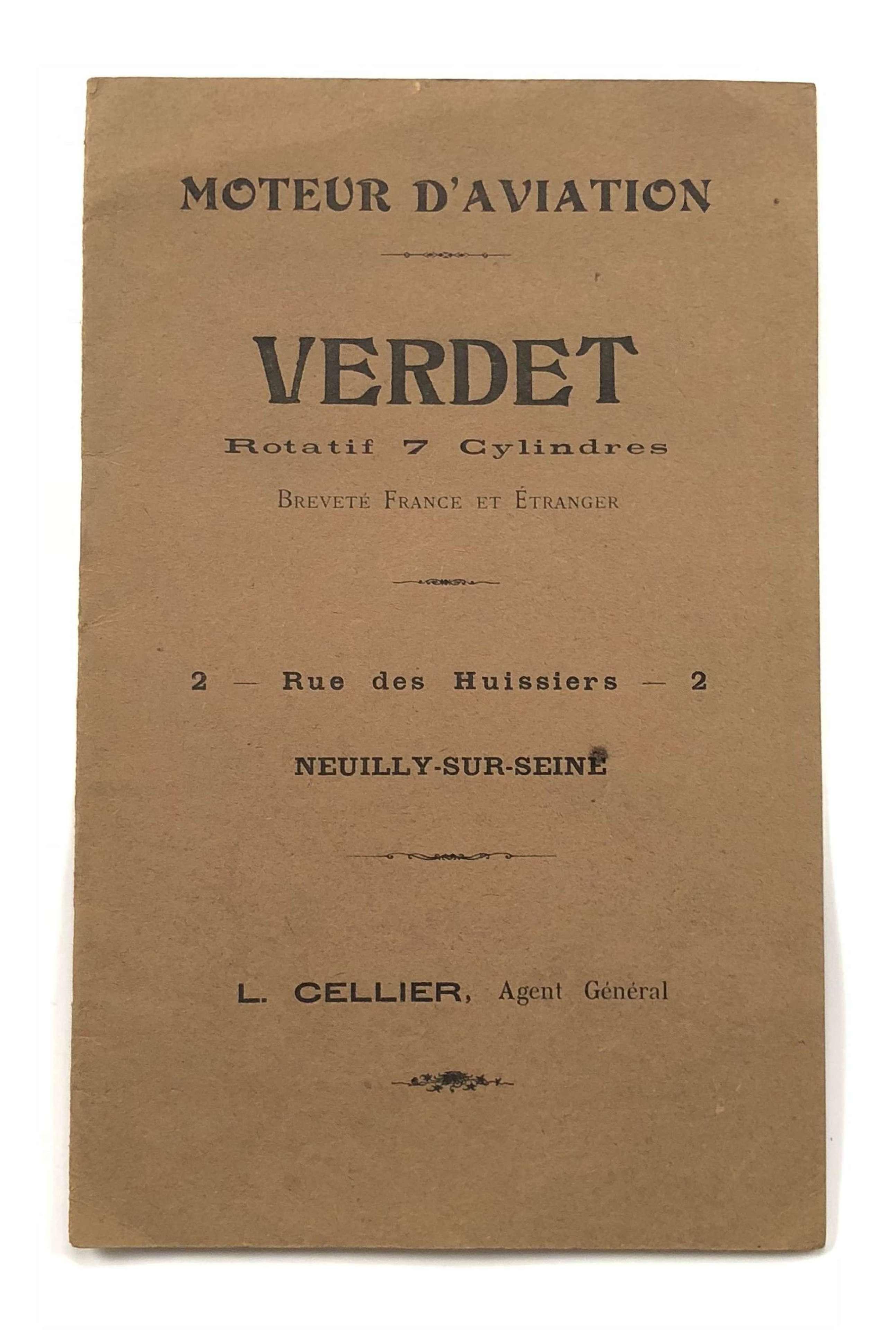 Pre WW1 Verdet 7 Cylinder Rotary Engine Sales Booklet