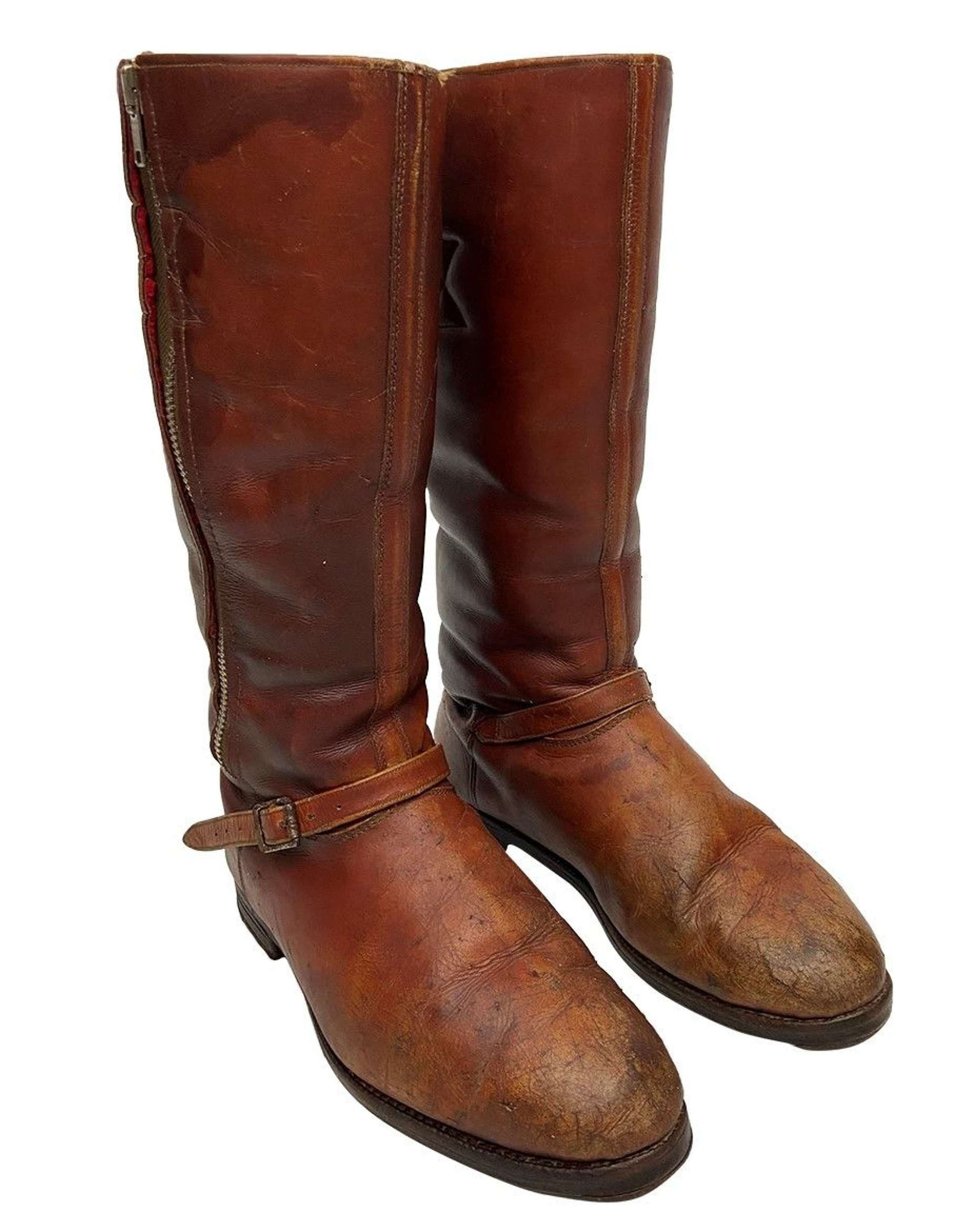 Original 1940s Brown Leather Flying Boots