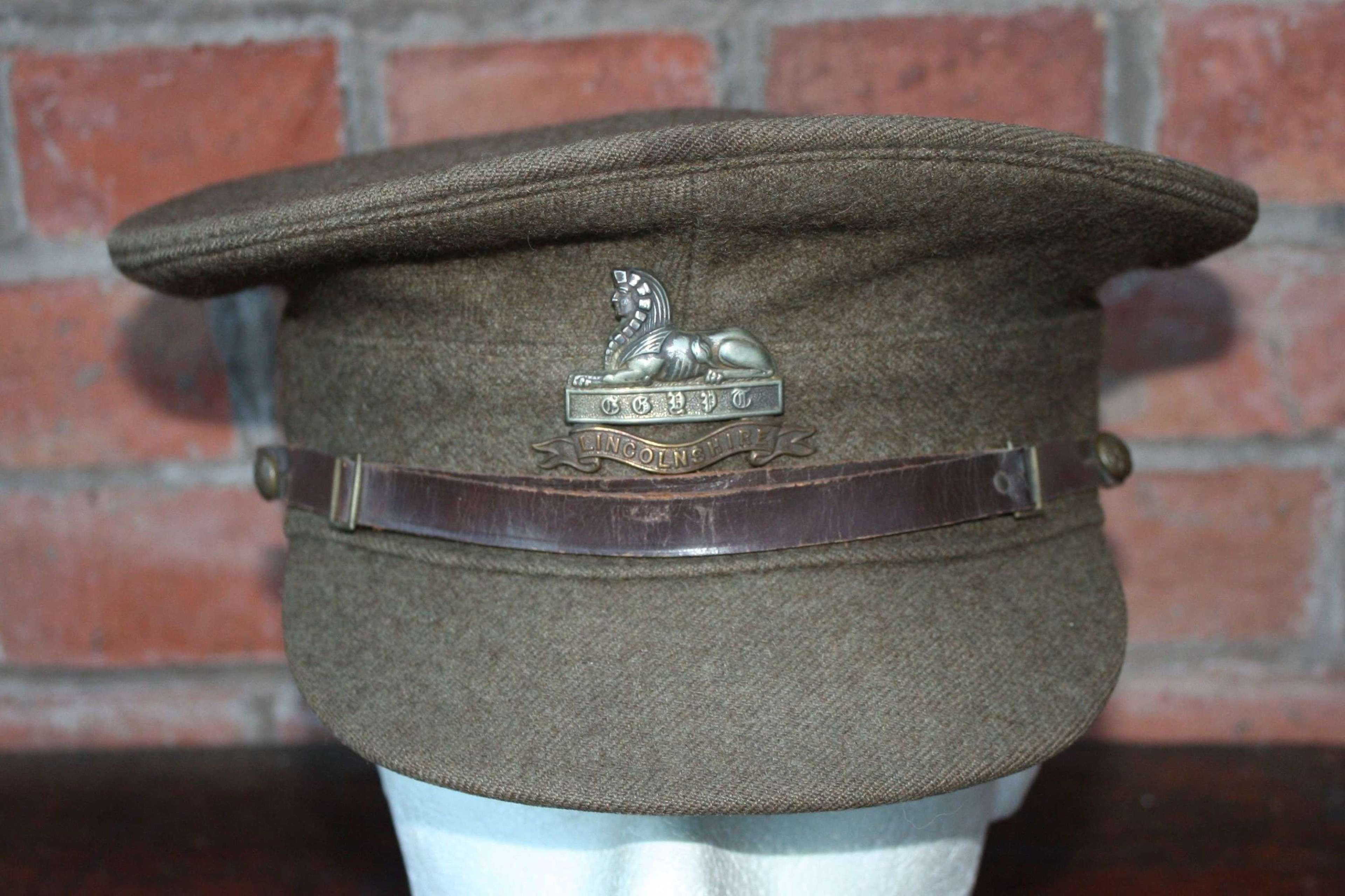 1922 PATTERN BRITISH KHAKI SERVICE DRESS CAP THE LINCOLNSHIRE REGIMENT
