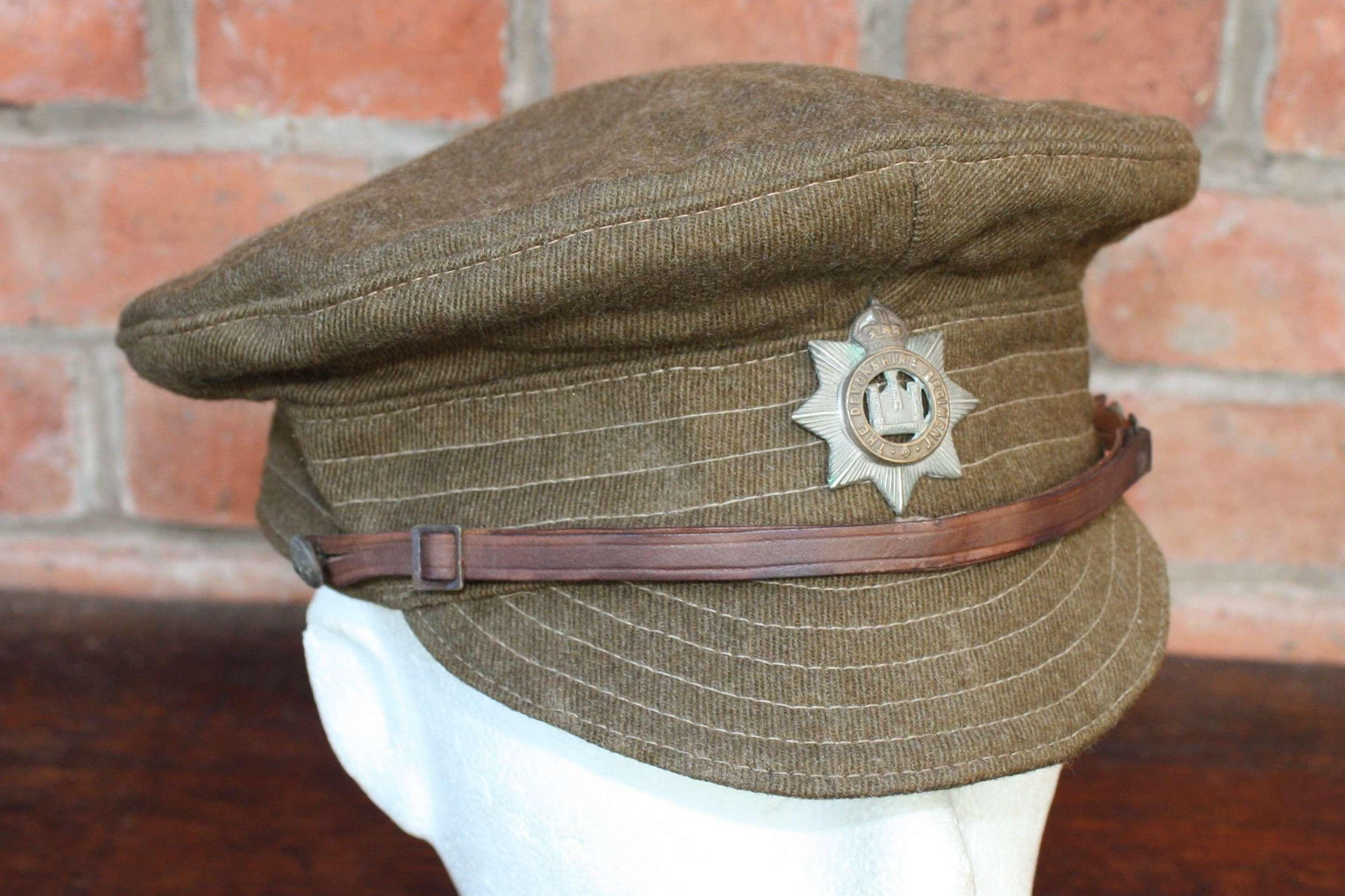 BRITISH 1918 DATED WW1 OTHER RANKS WOOL TRENCH CAP DEVONSHIRE REGIMENT