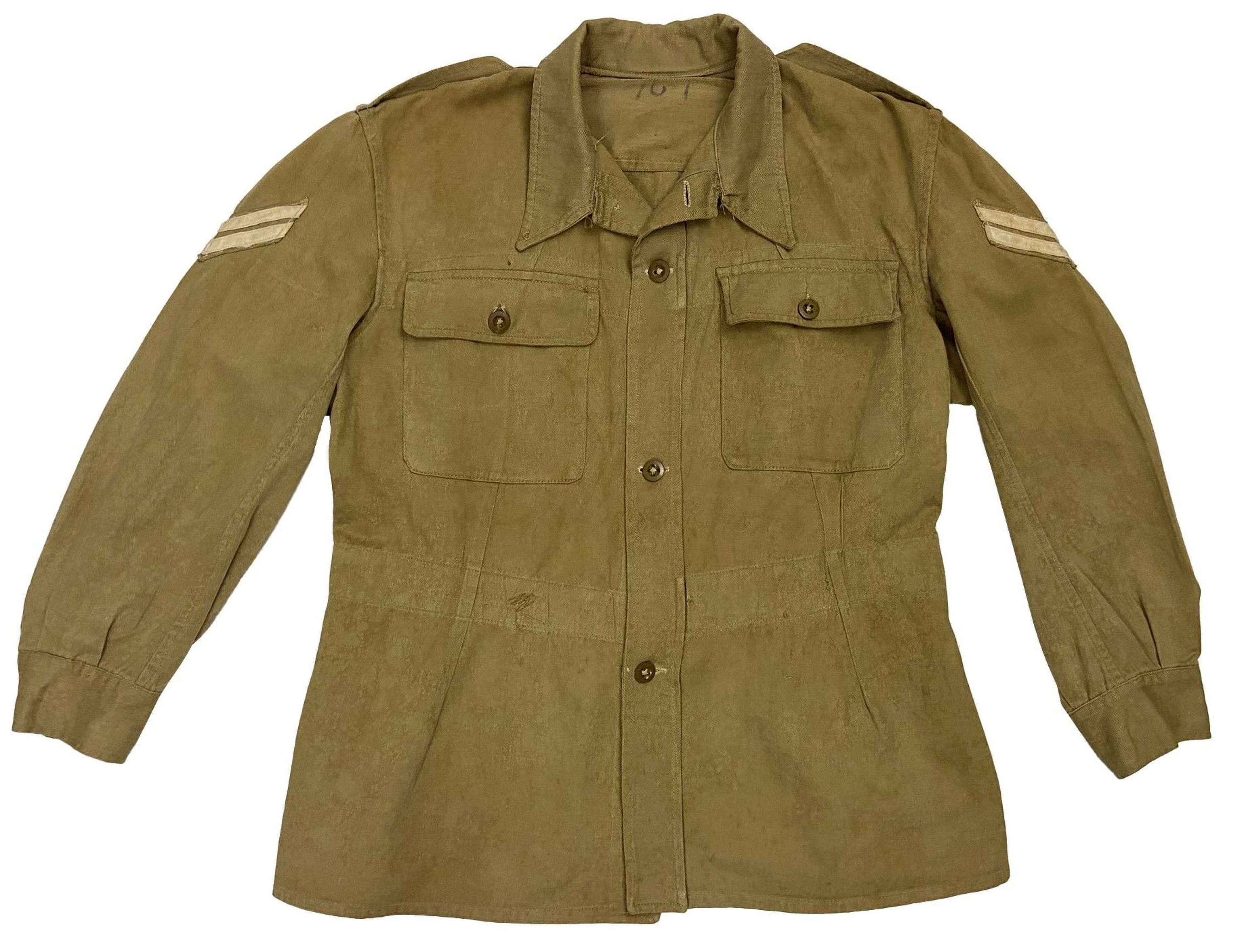 Original 1946 Dated Indian Made Cotton Drill Bush Jacket