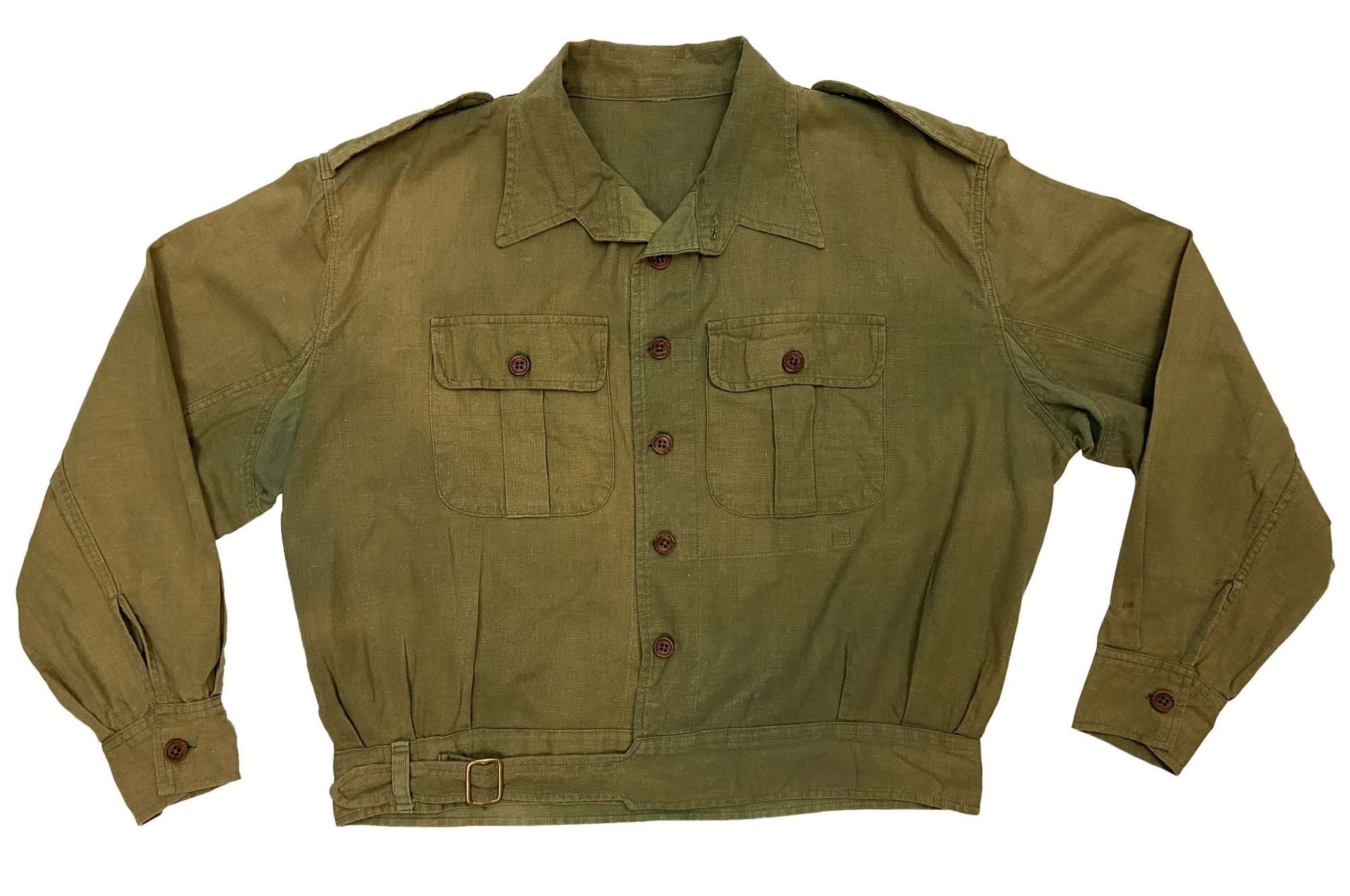 Original WW2 British Army Jungle Green Aertex Battledress Blouse