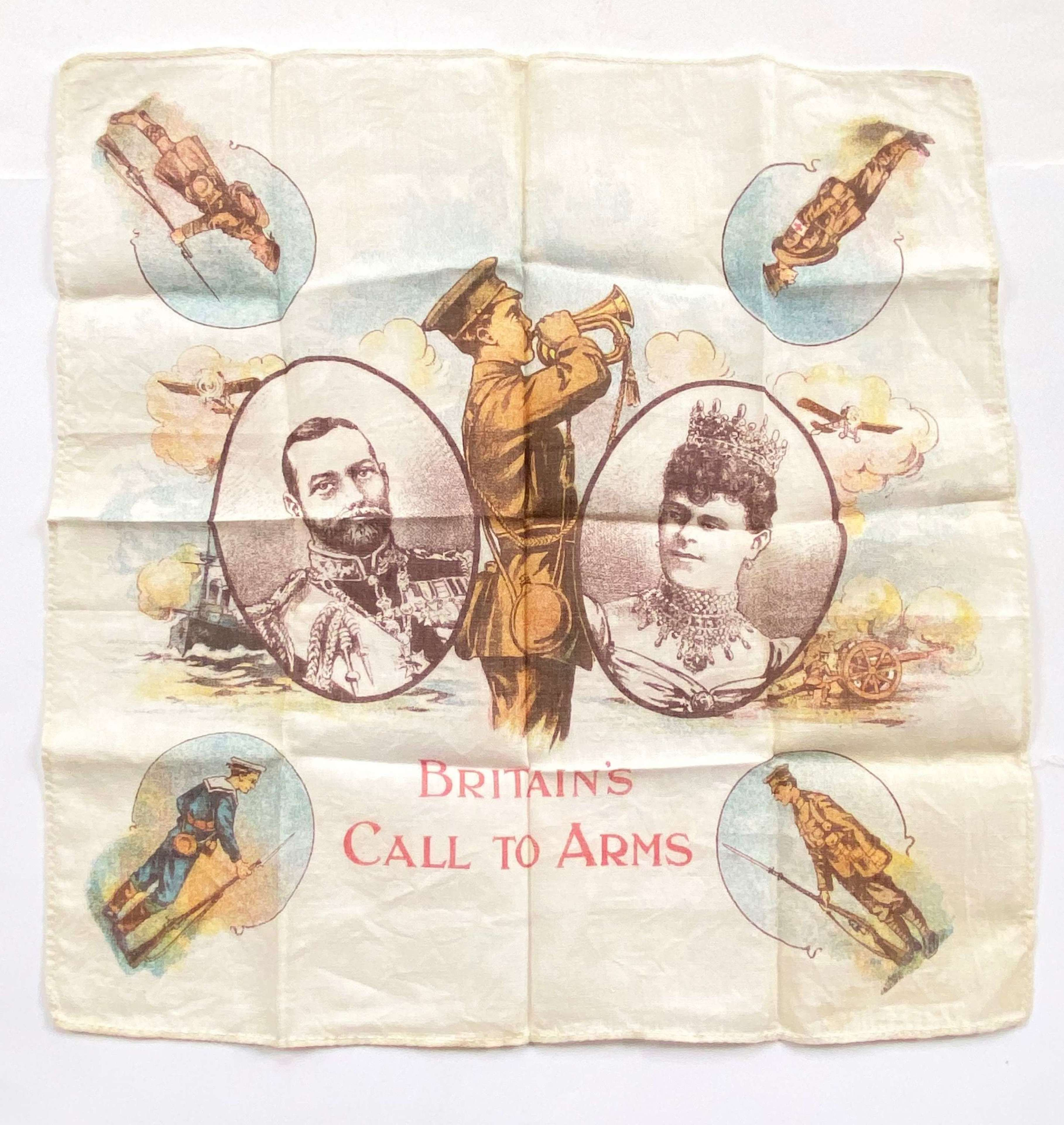"WW1 Patriotic ""Britiains Call To Arms"" Printed Handkerchief"