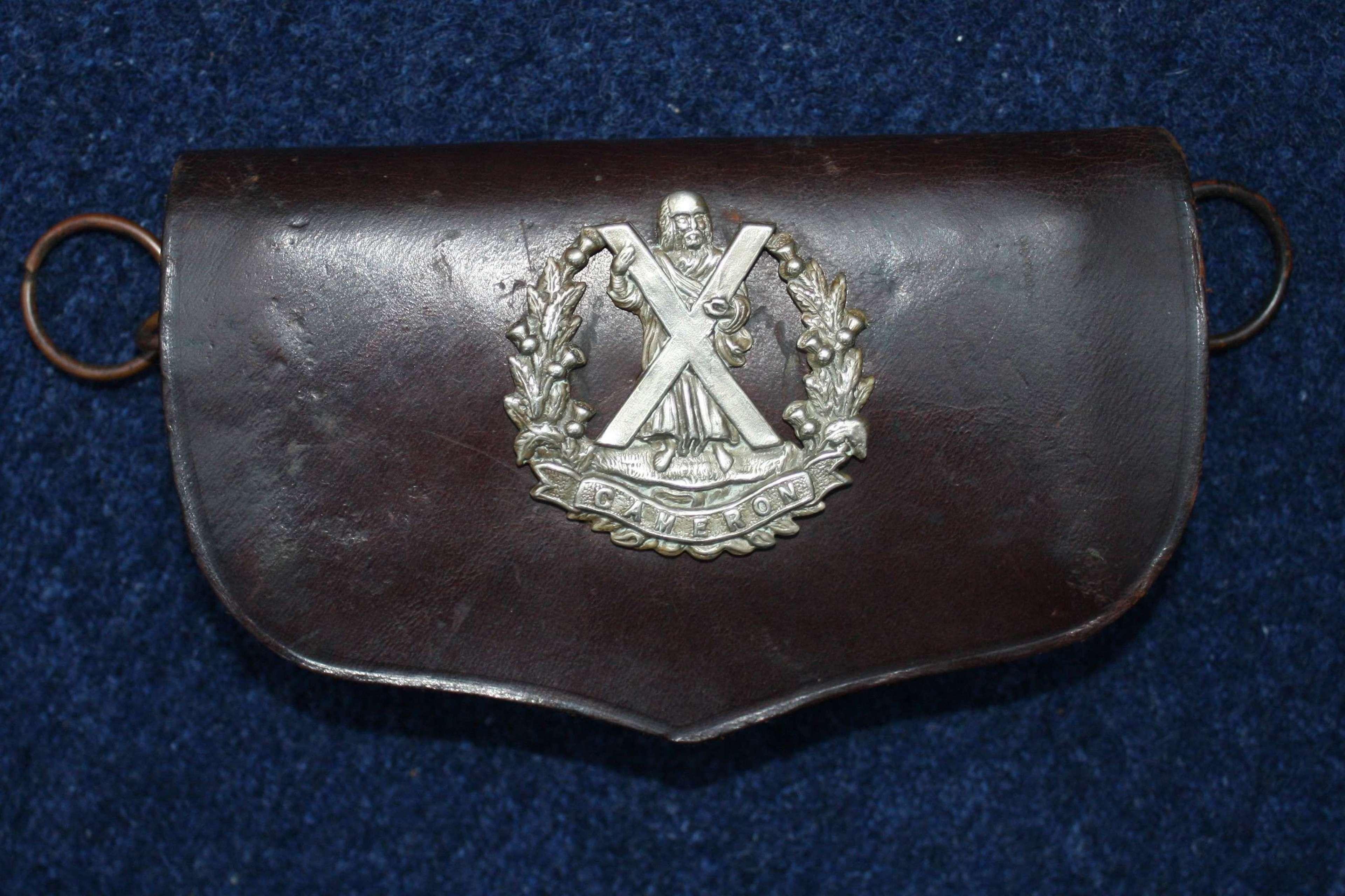Boer War / WW1 era Cameron Highlanders Cross Belt Ammo Pouch