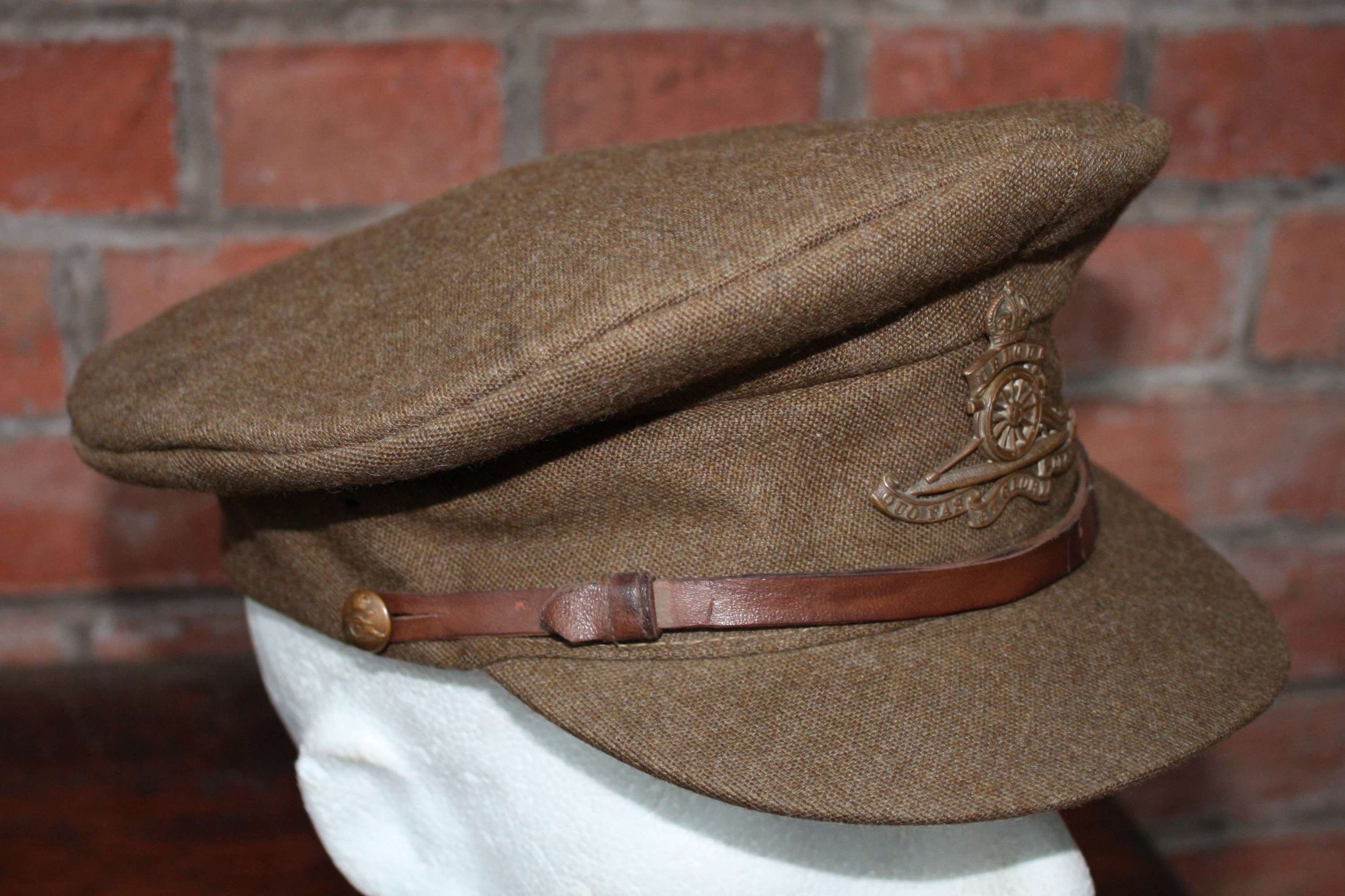 WW1 BRITISH OFFICERS FLOPPY STYLE KHAKI CAP ROYAL ARTILLERY