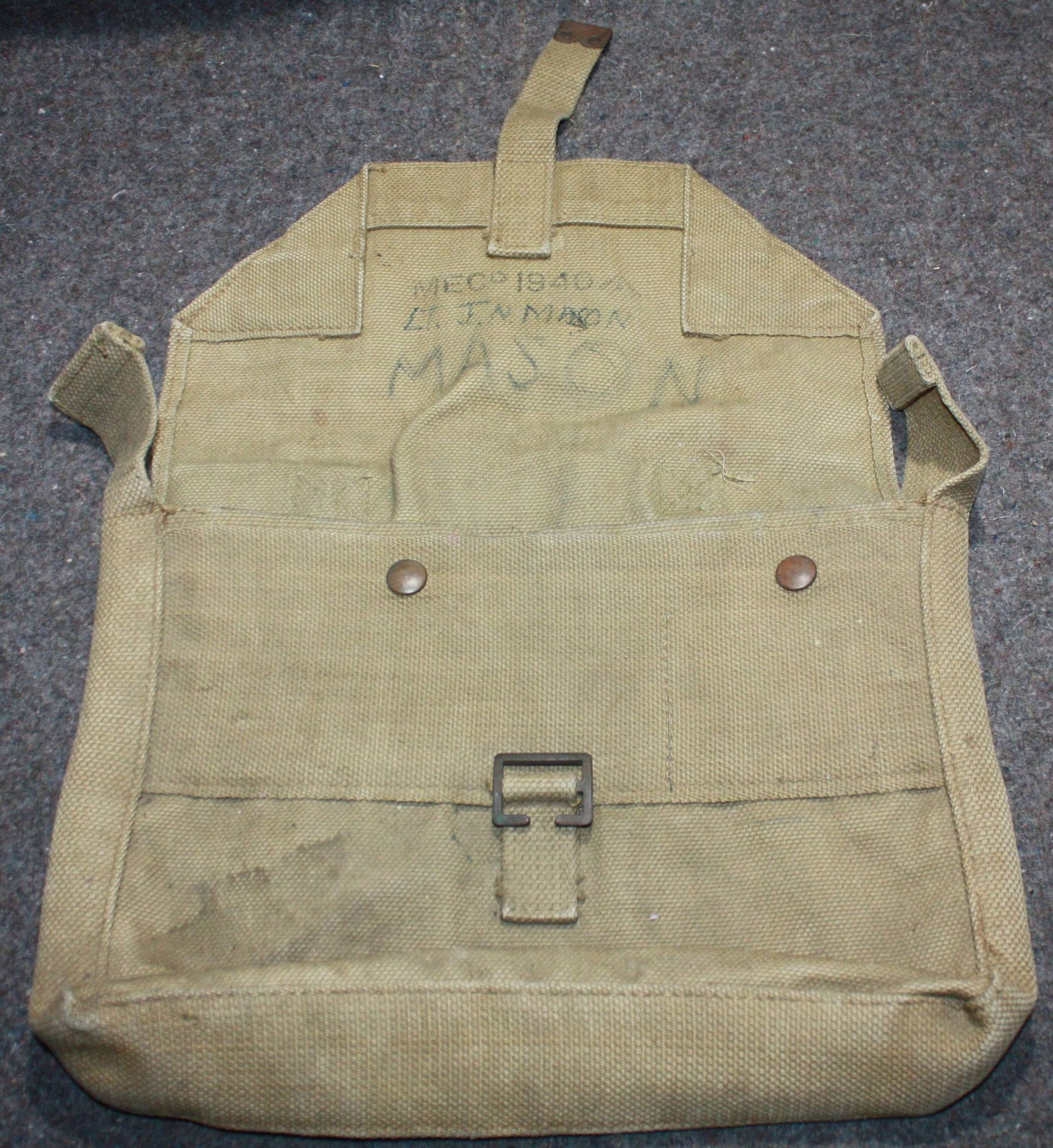 A WWII OFFICERS USED SIDE PACK 1940 DATED
