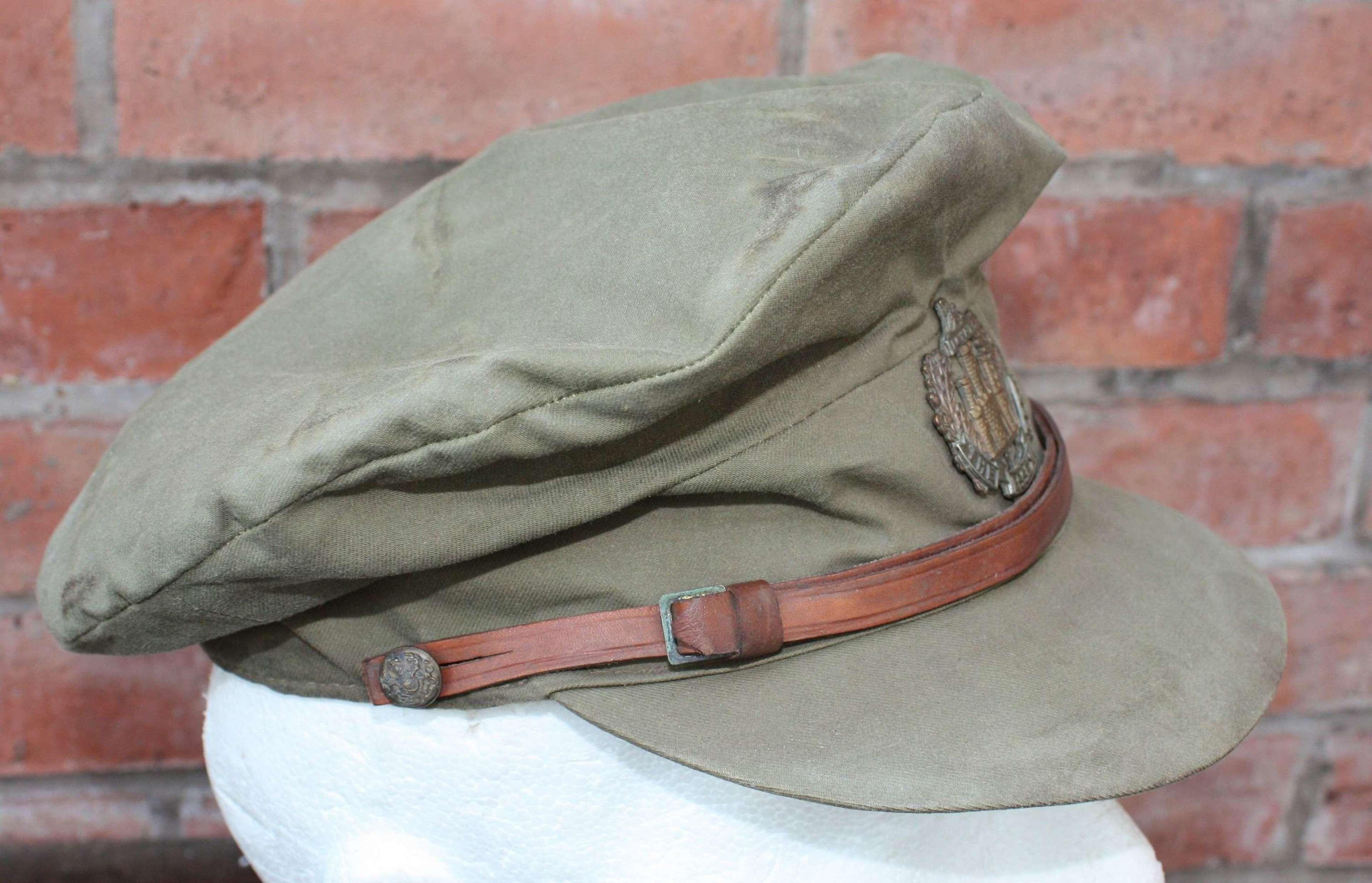WW1 British Officers 'Floppy' Style Khaki Trench Cap: Essex Regiment