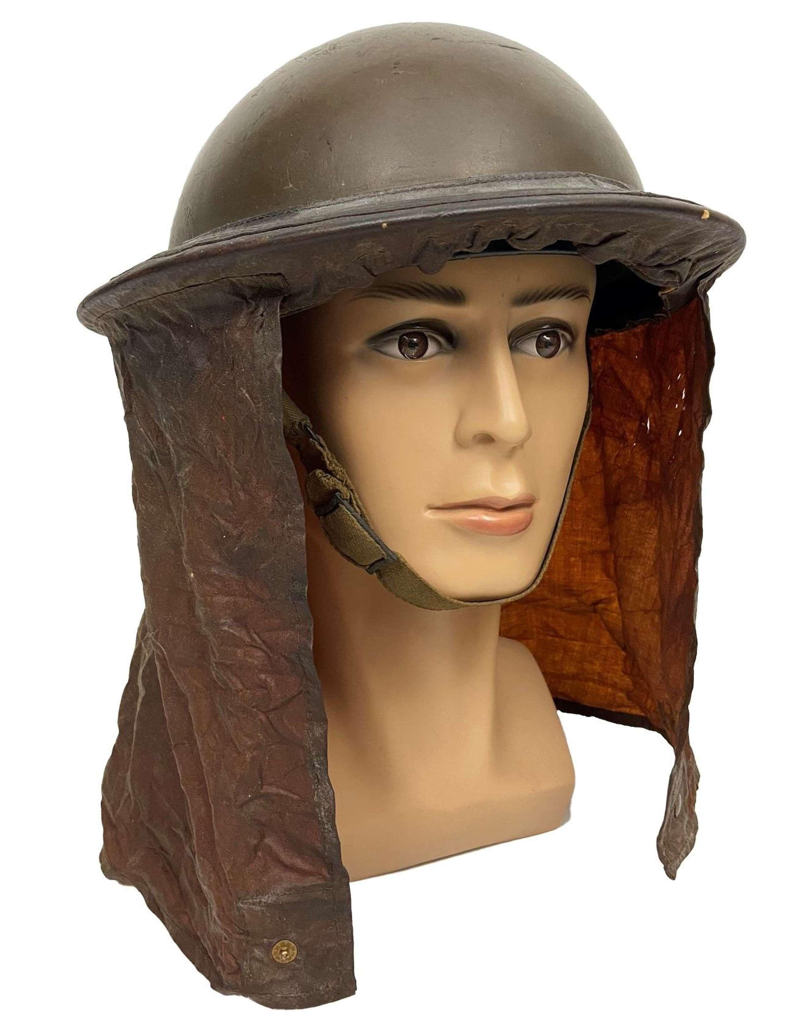 Scarce 1938 Dated British MKII Steel Helmet + 1939 Dated Gas Curtain