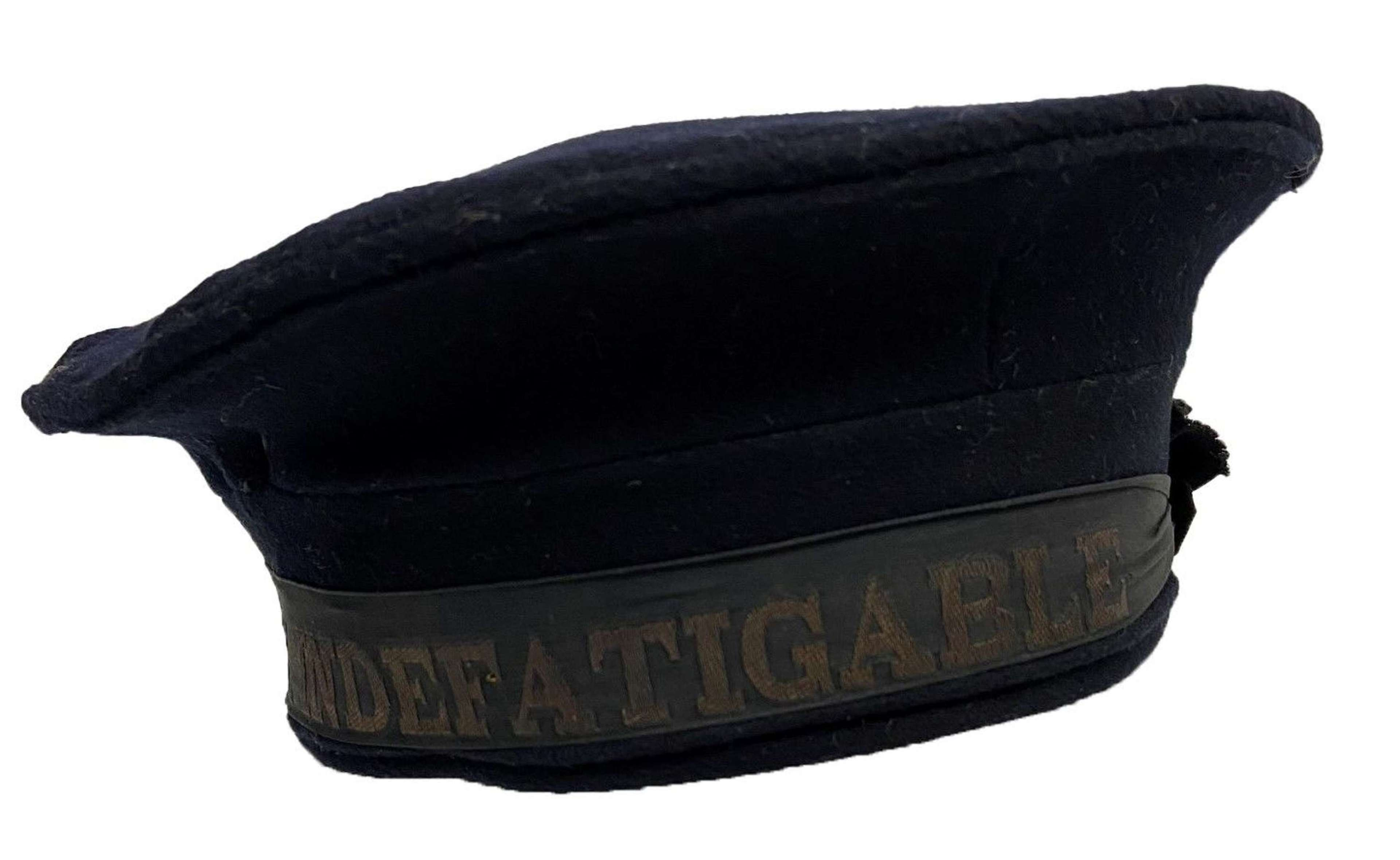 Original WW2 Royal Blue Cloth Winter Cap - HMS Indefatigable