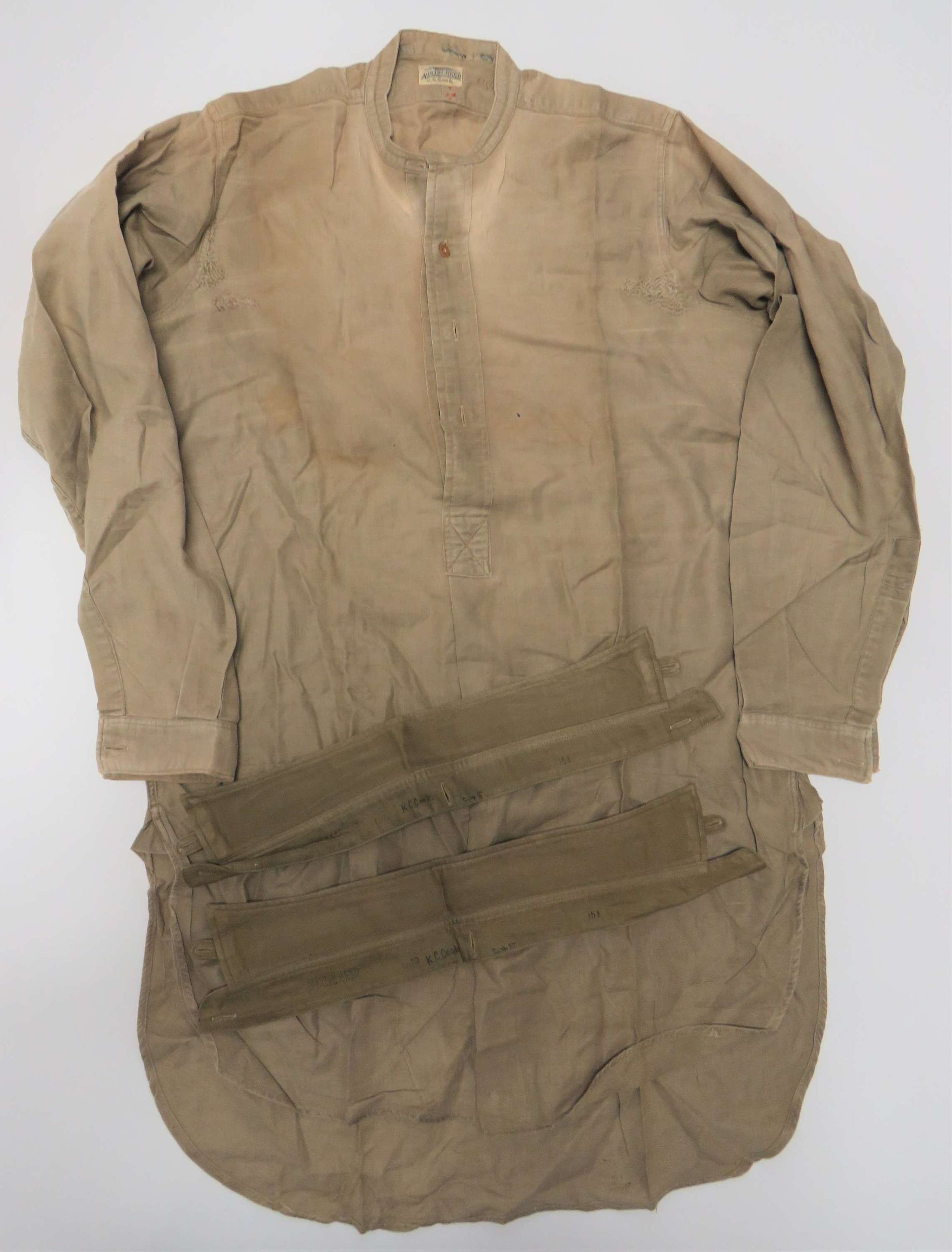 WW2 Original British Officers Half Front Fastened Collarless Shirt