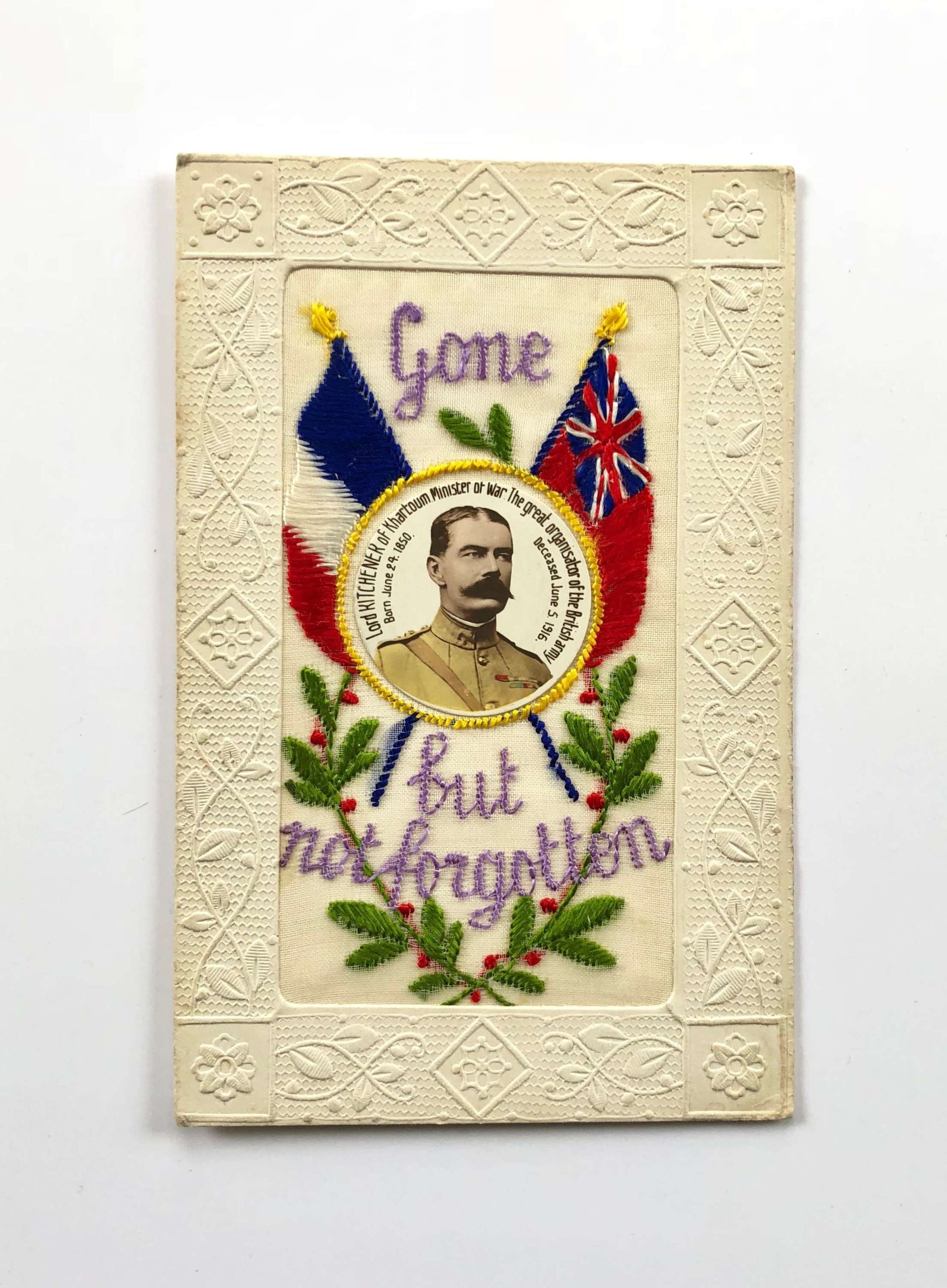 WW1 Lord Kitchener Red Ensign silk Memorial Military Postcard