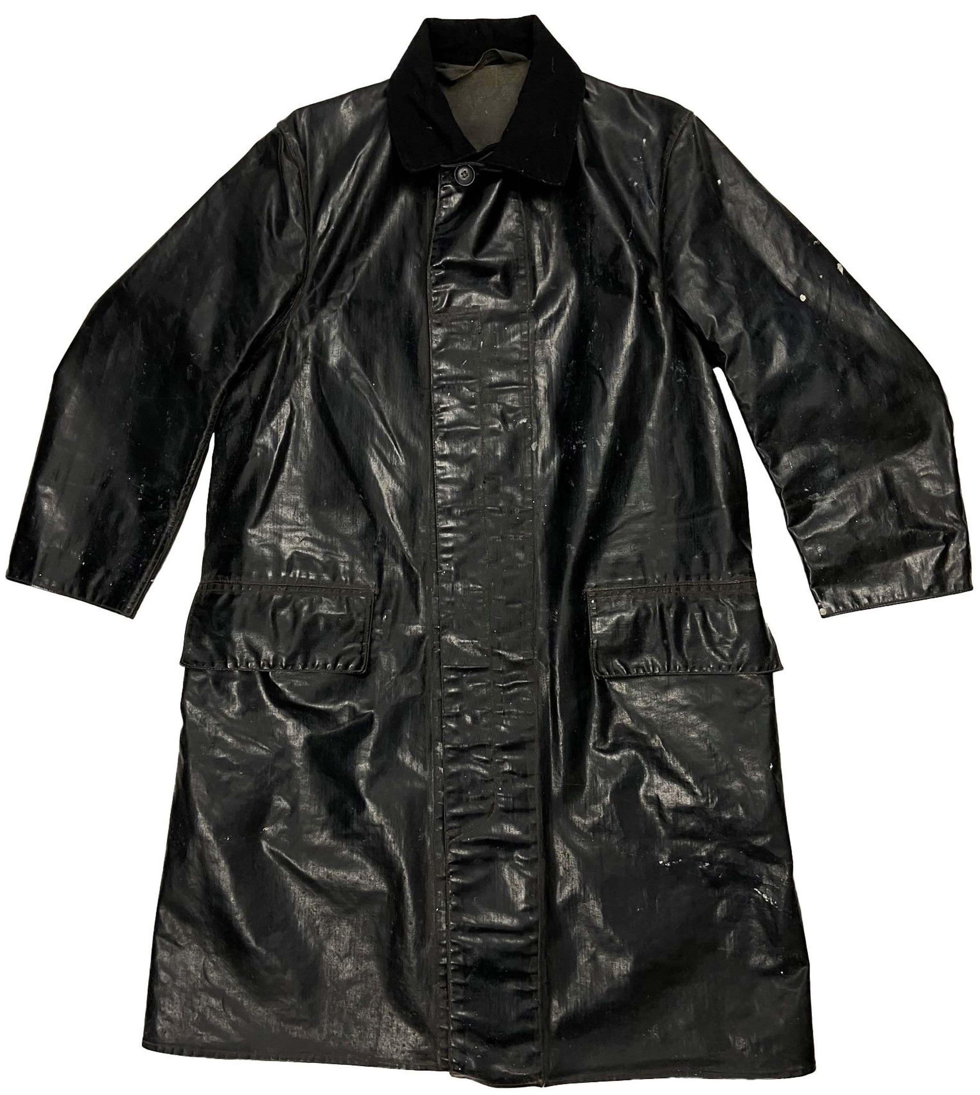 Original 1940s Royal Navy PVC Oilskin Waterproof Coat