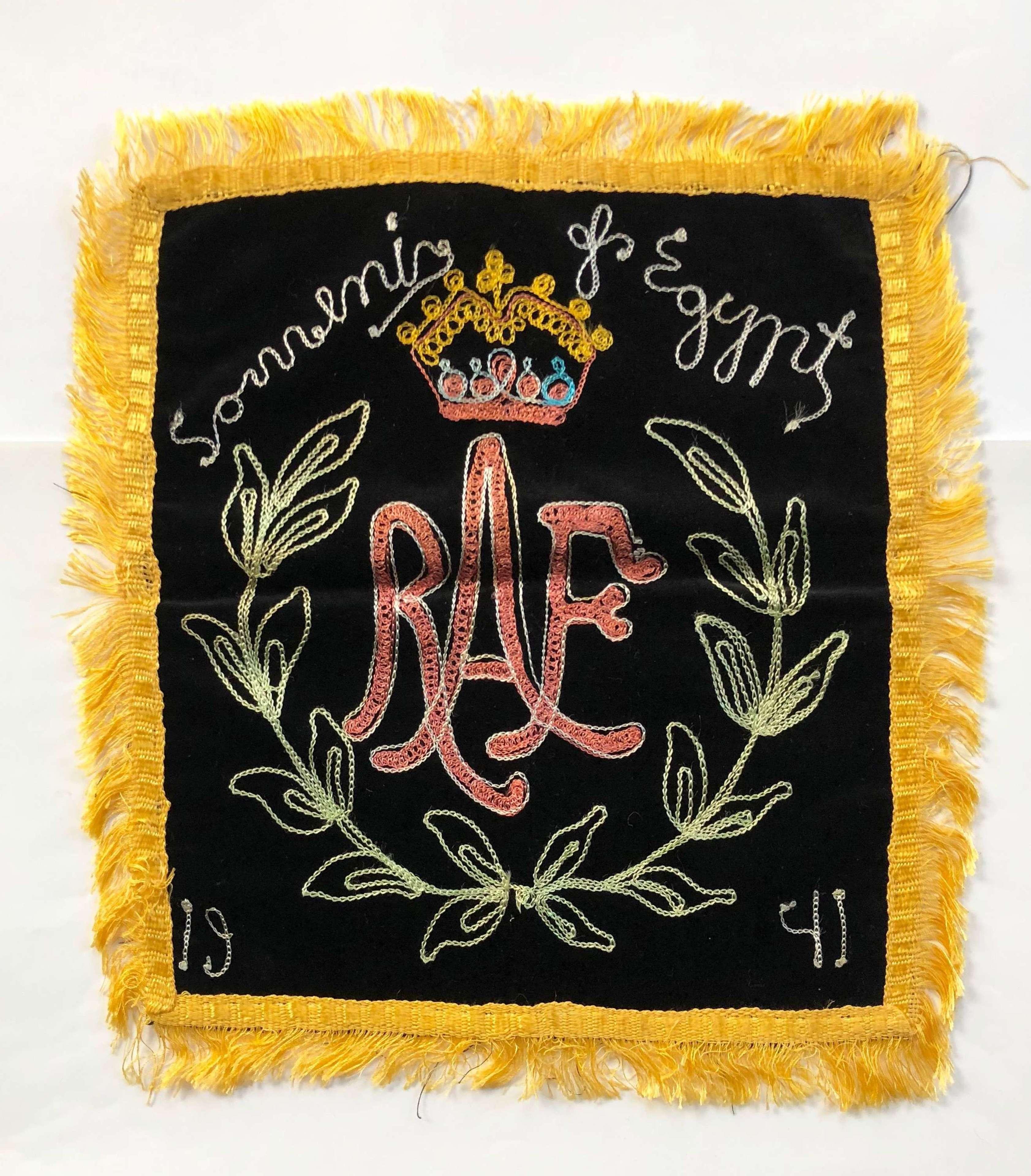WW2 RAF 1941 Embroidery Egypt.