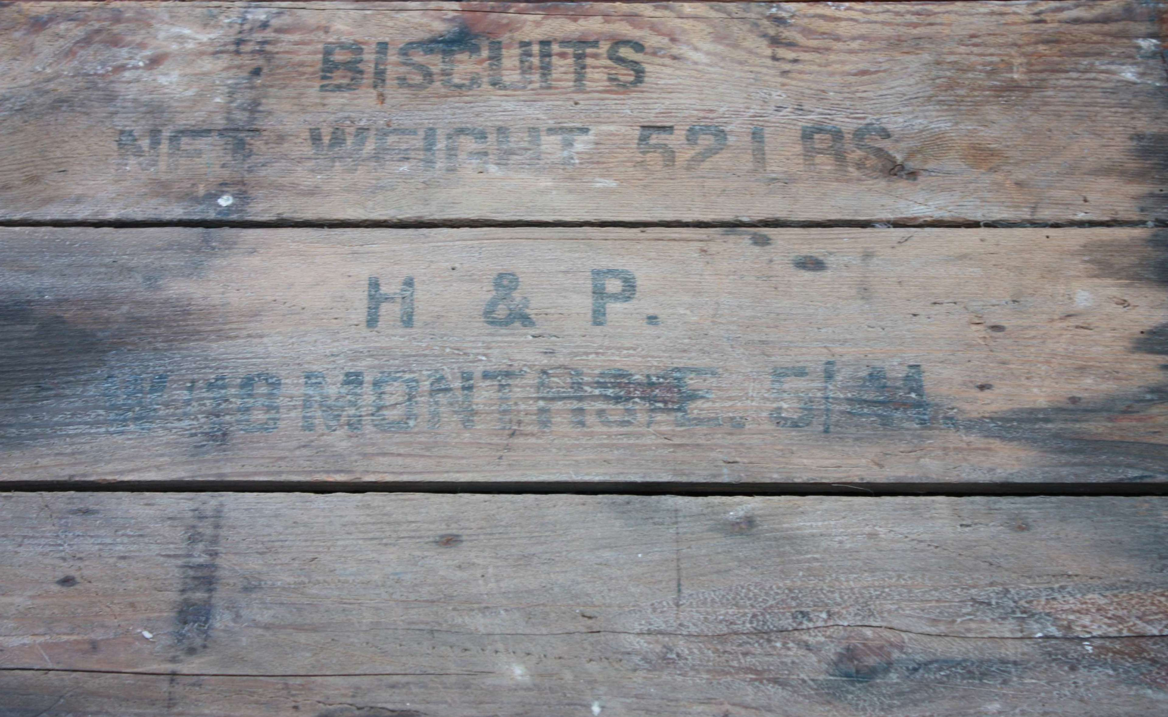 A 1944 DATED LARGE SIZE WOOD BISCUIT CREATE