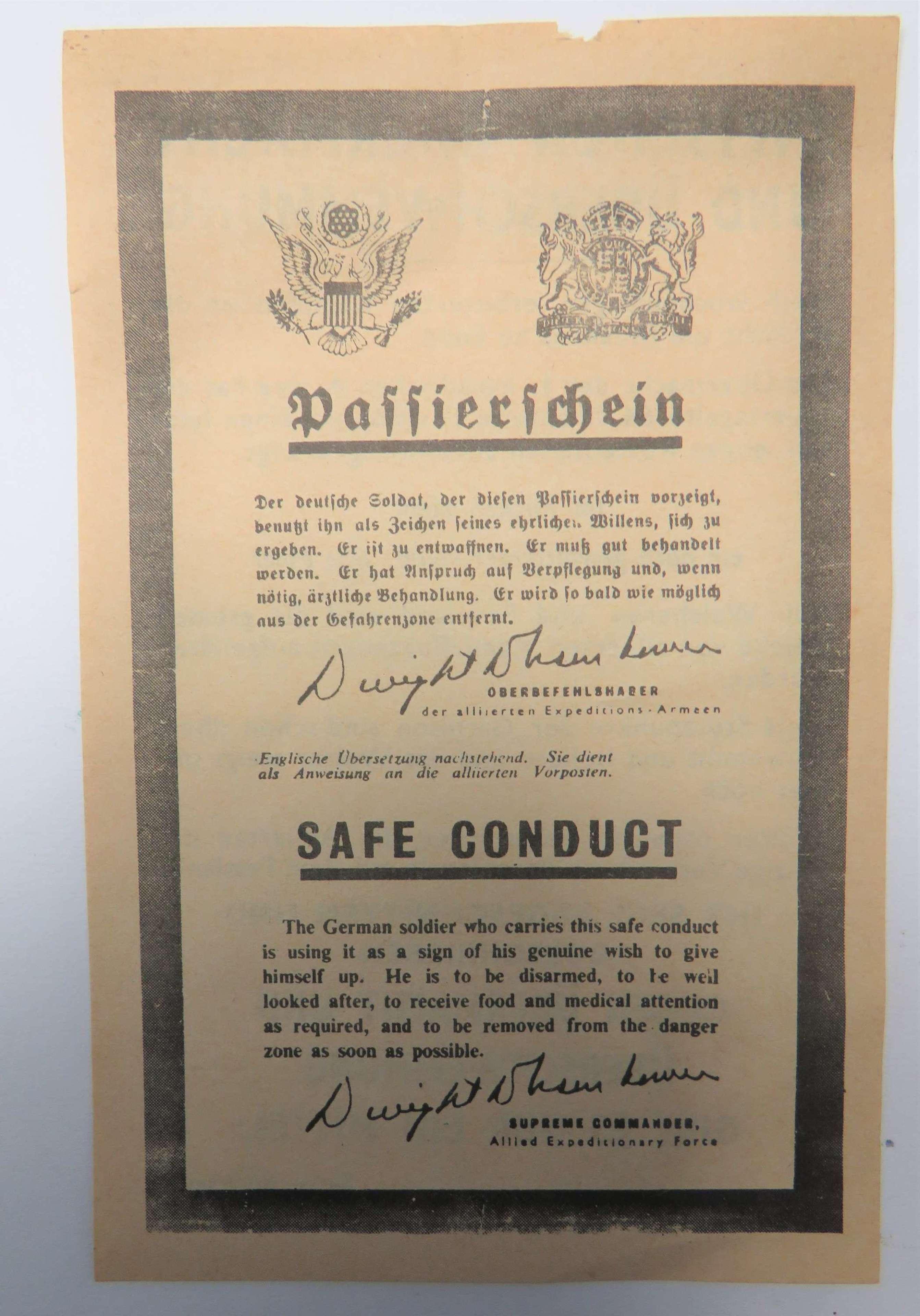 WW2 Safe Conduct Pass