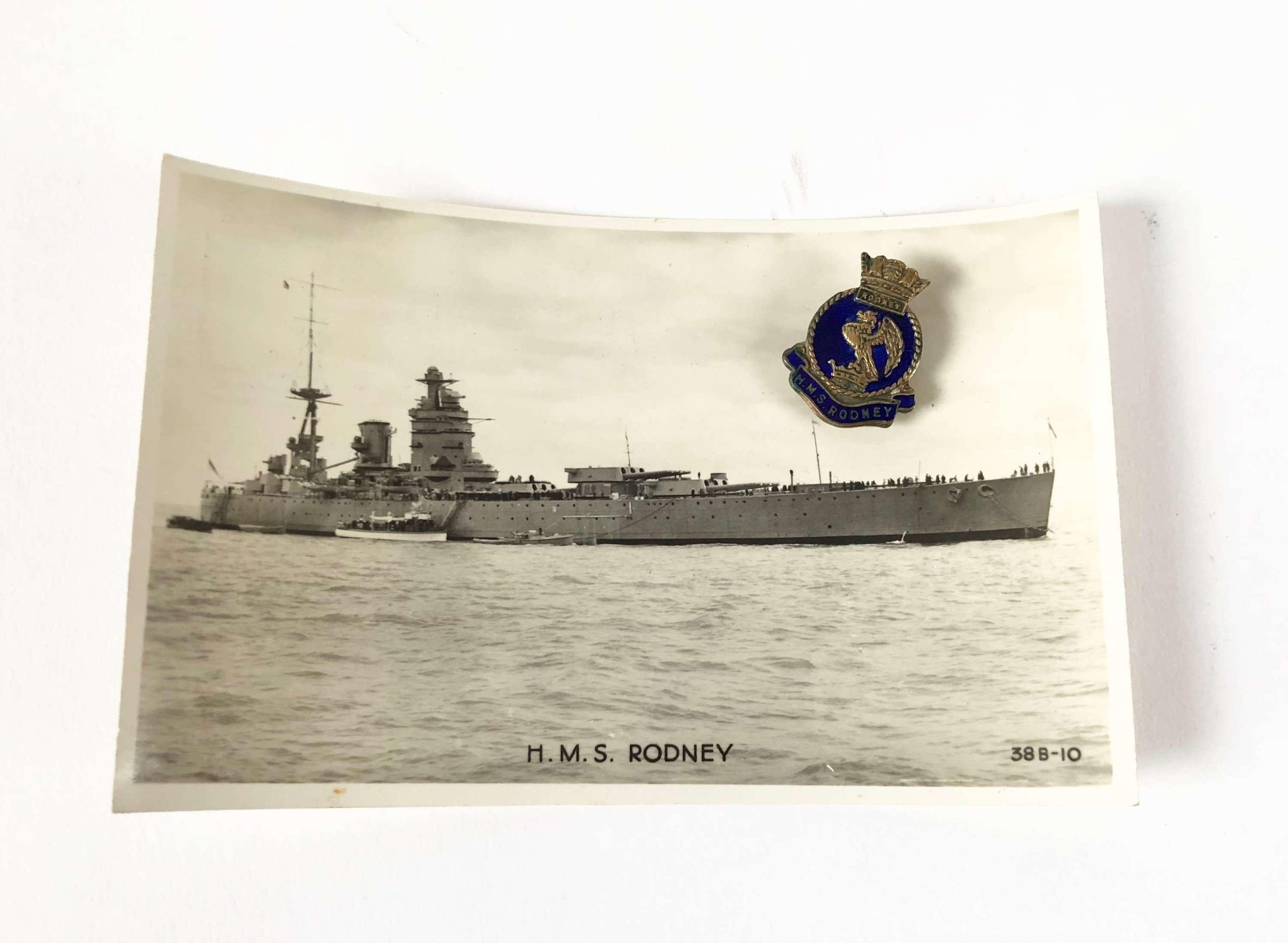 HMS Rodney Lapel Badge and Postcard.