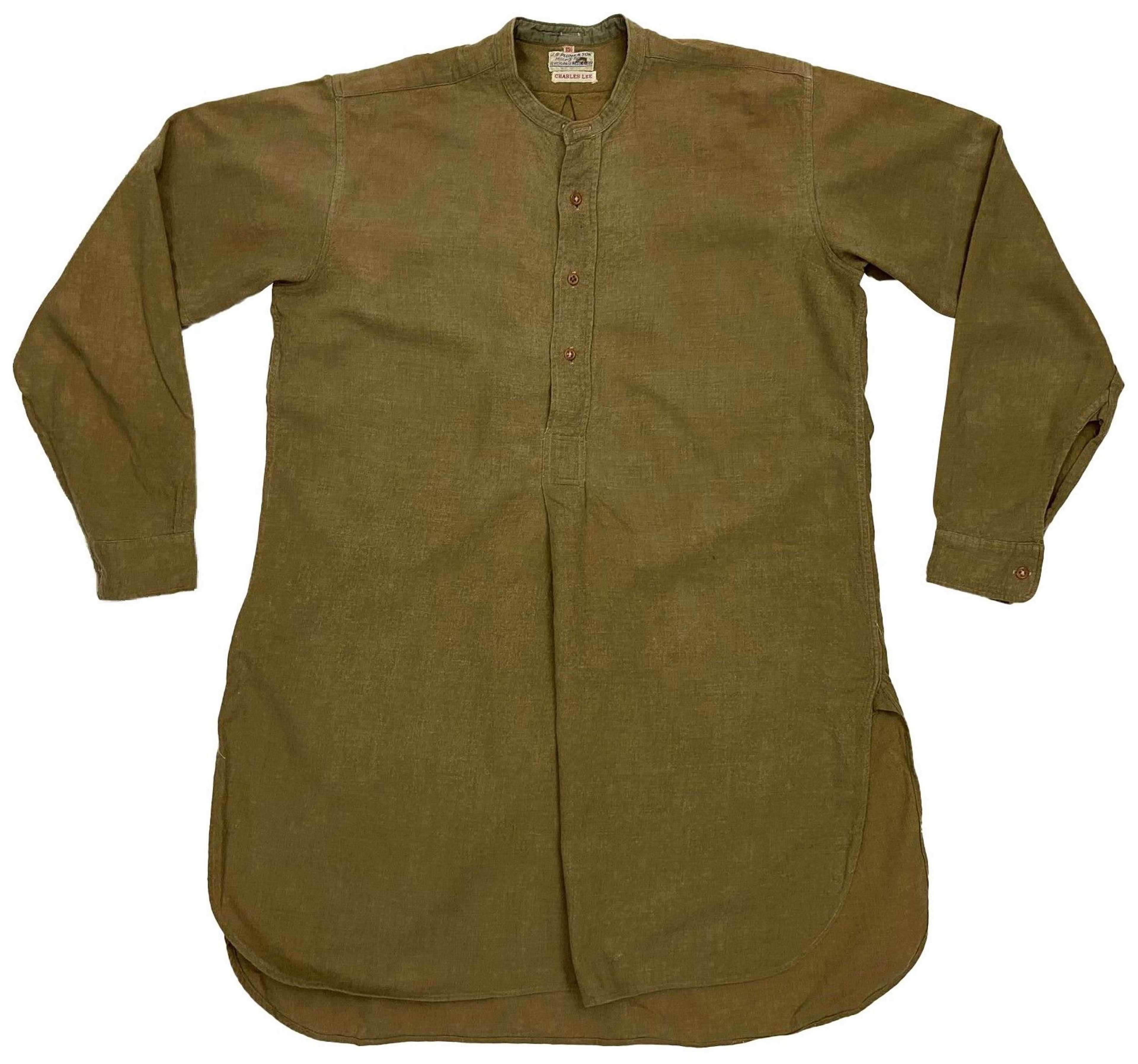 Original British Army Officers Collarless Shirt by 'J. G. Plumb'