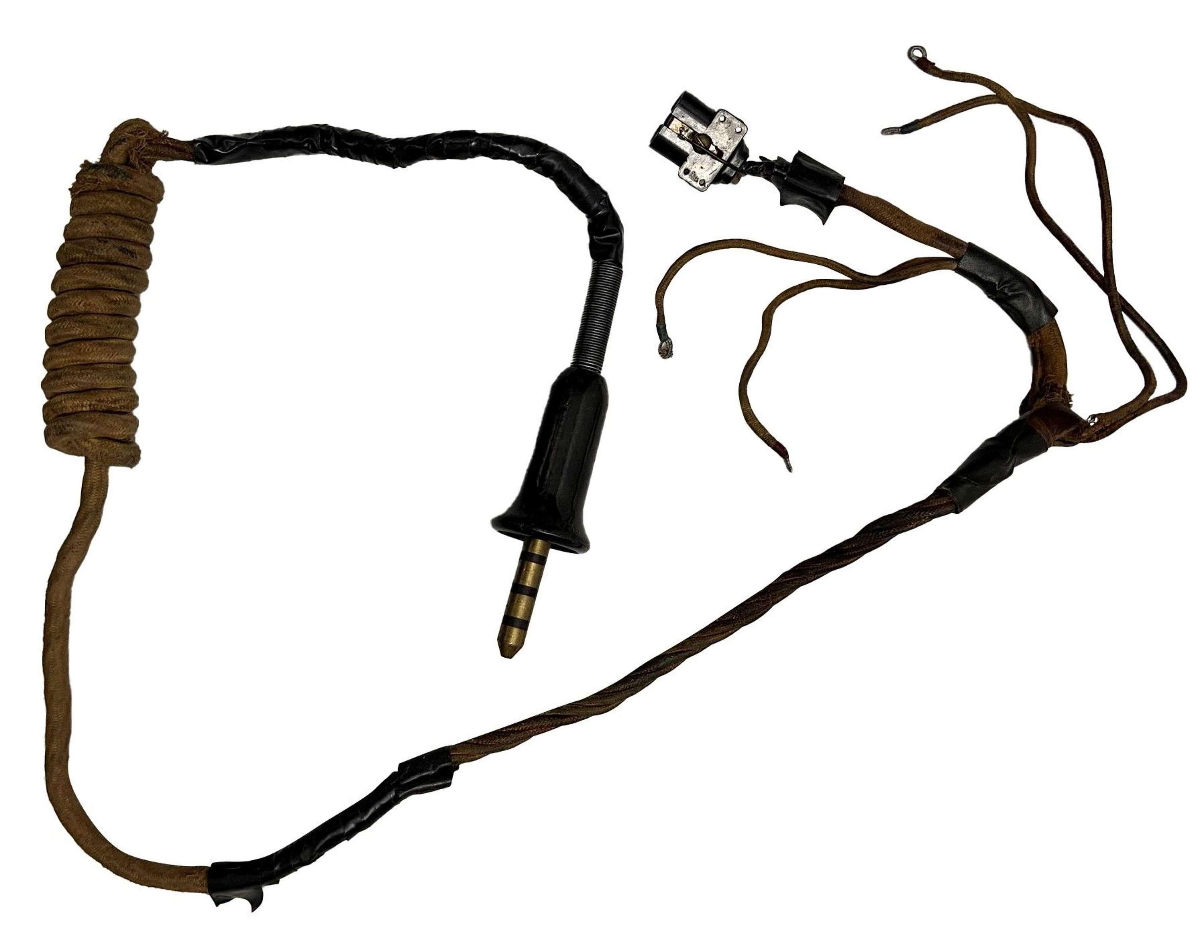 Original RAF Flying Helmet Internal Wiring loom and Bell Plug