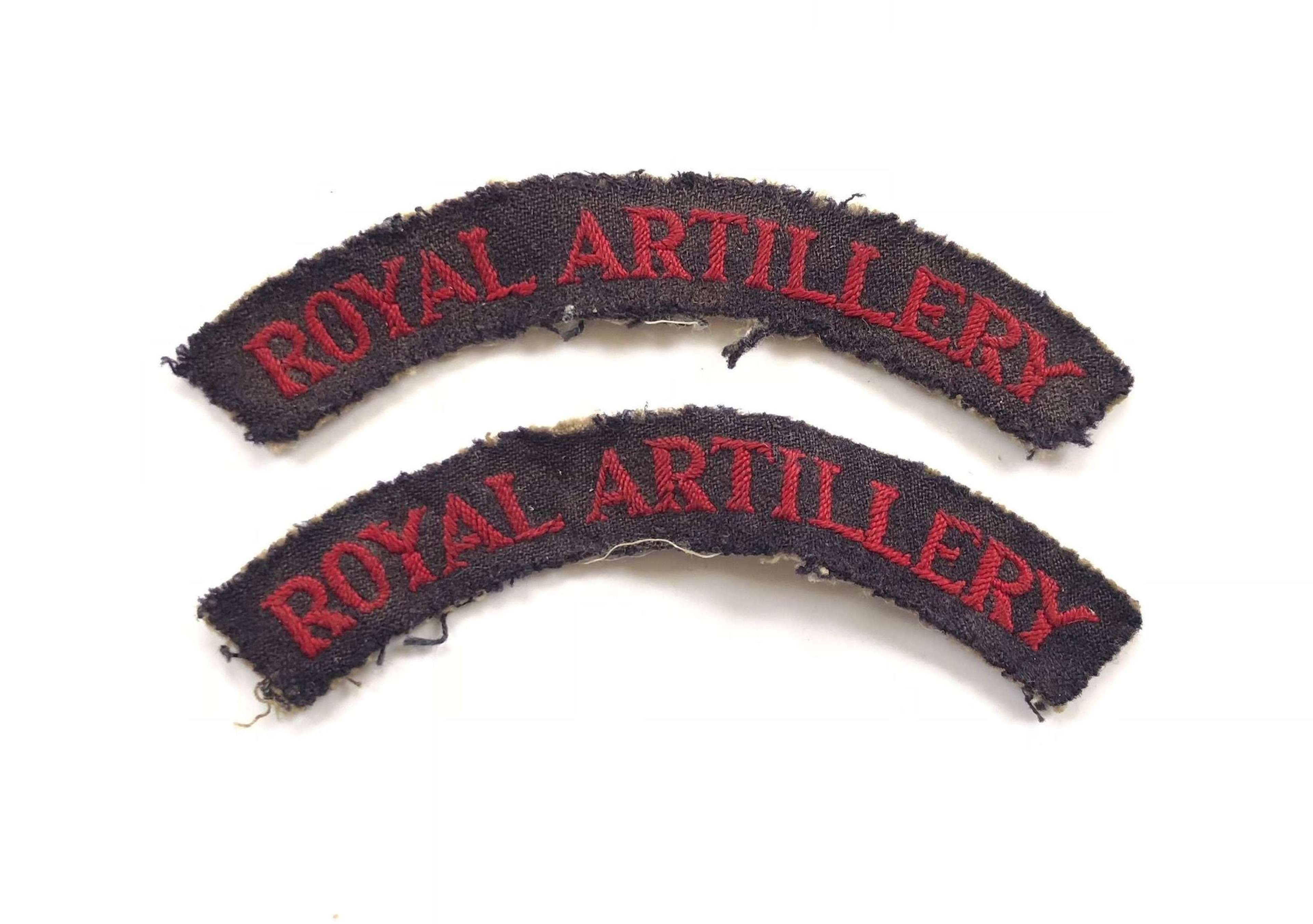 WW2 Period Royal Artillery Embroidered Shoulder Titles.