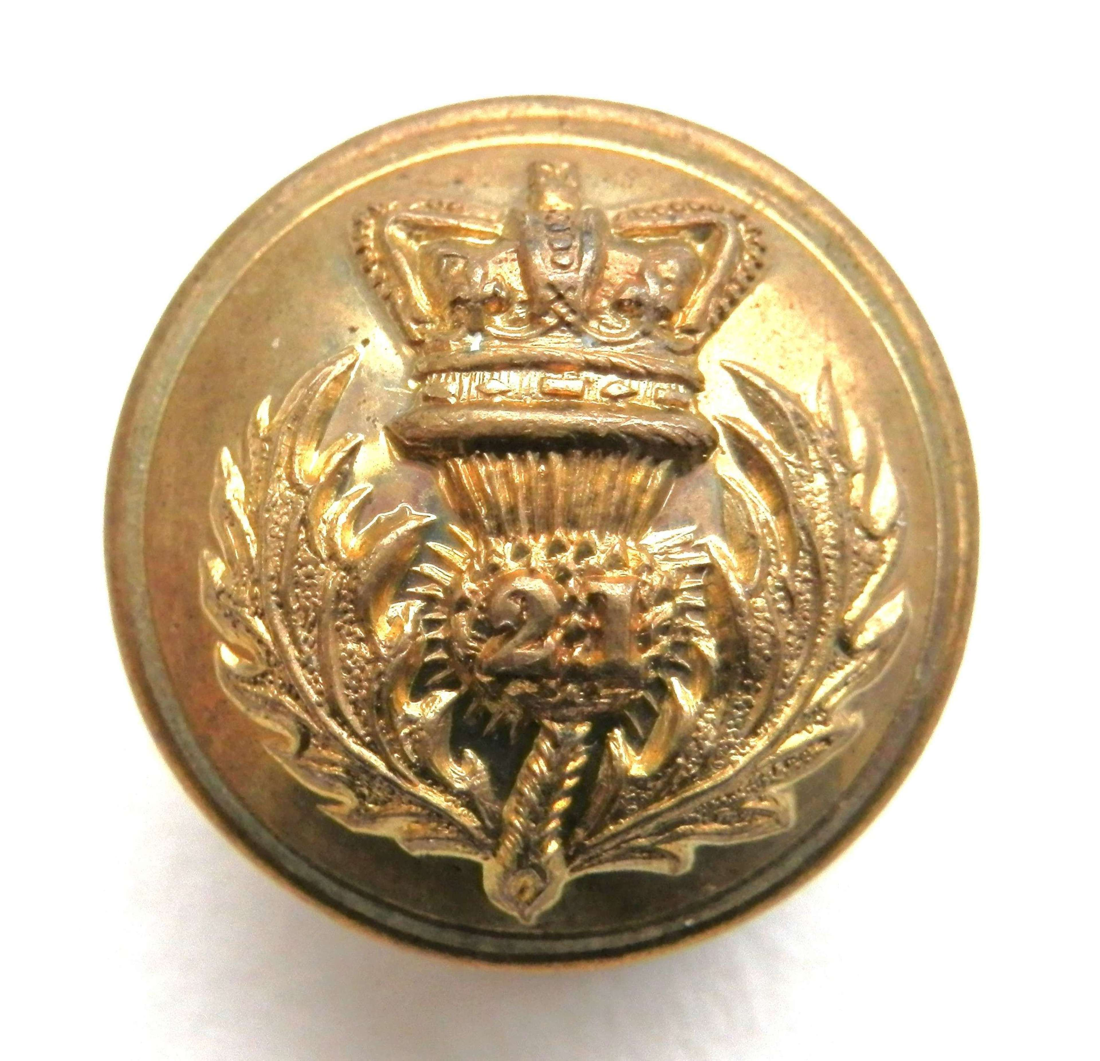 21st, Royal Scots Fusiliers Officers Button.