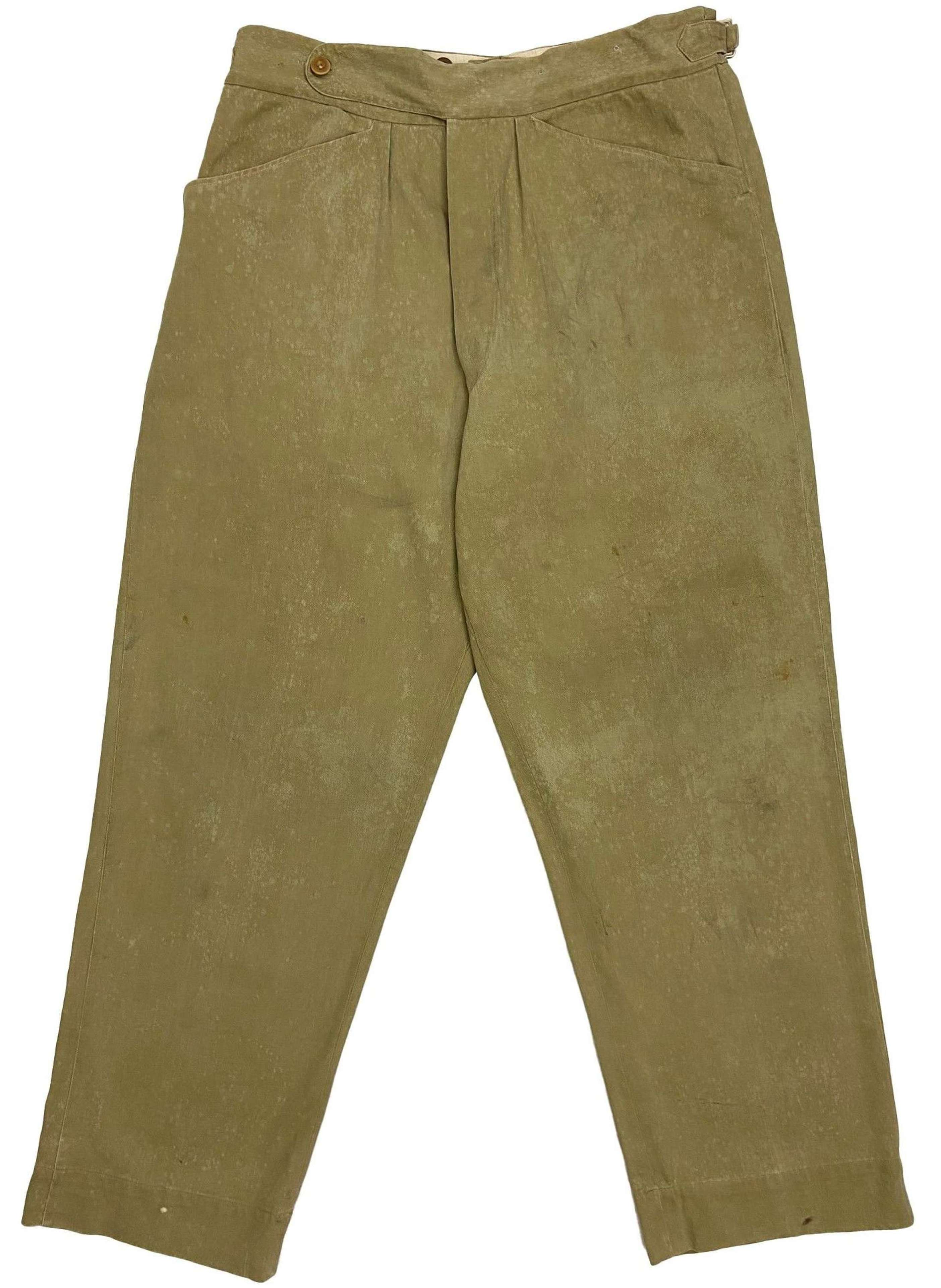 Original 1940s British Army Private Purchase Khaki Drill Trousers