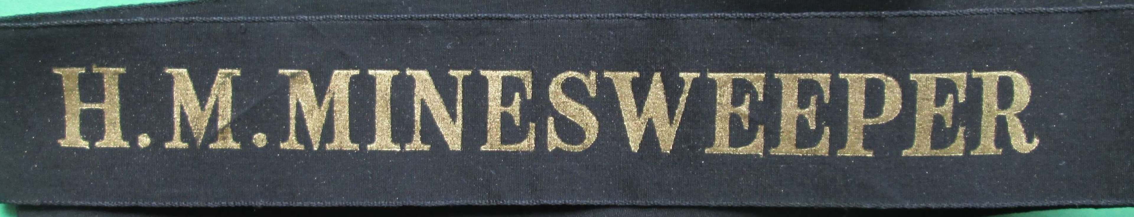 AN EARLY CAP TALLY FOR H.M.MINESWEEPER