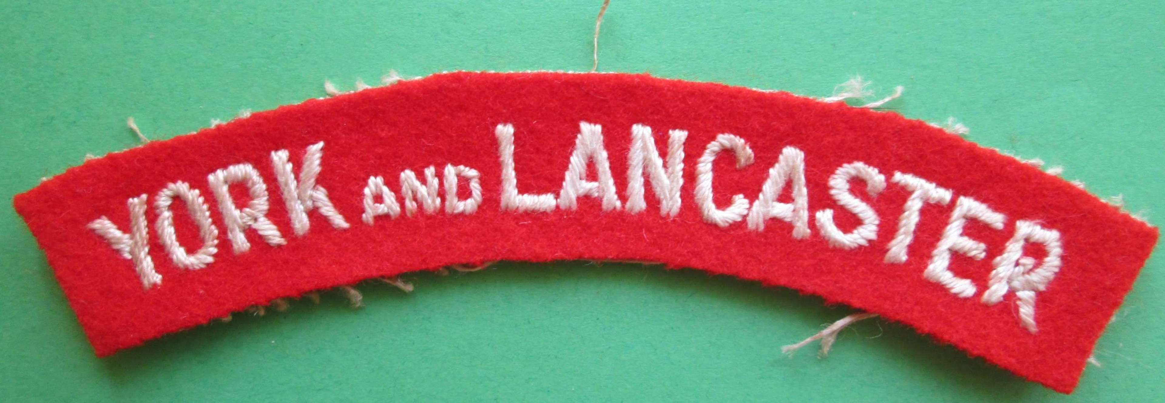 WWII PERIOD YORK AND LANCASTER SHOULDER TITLE