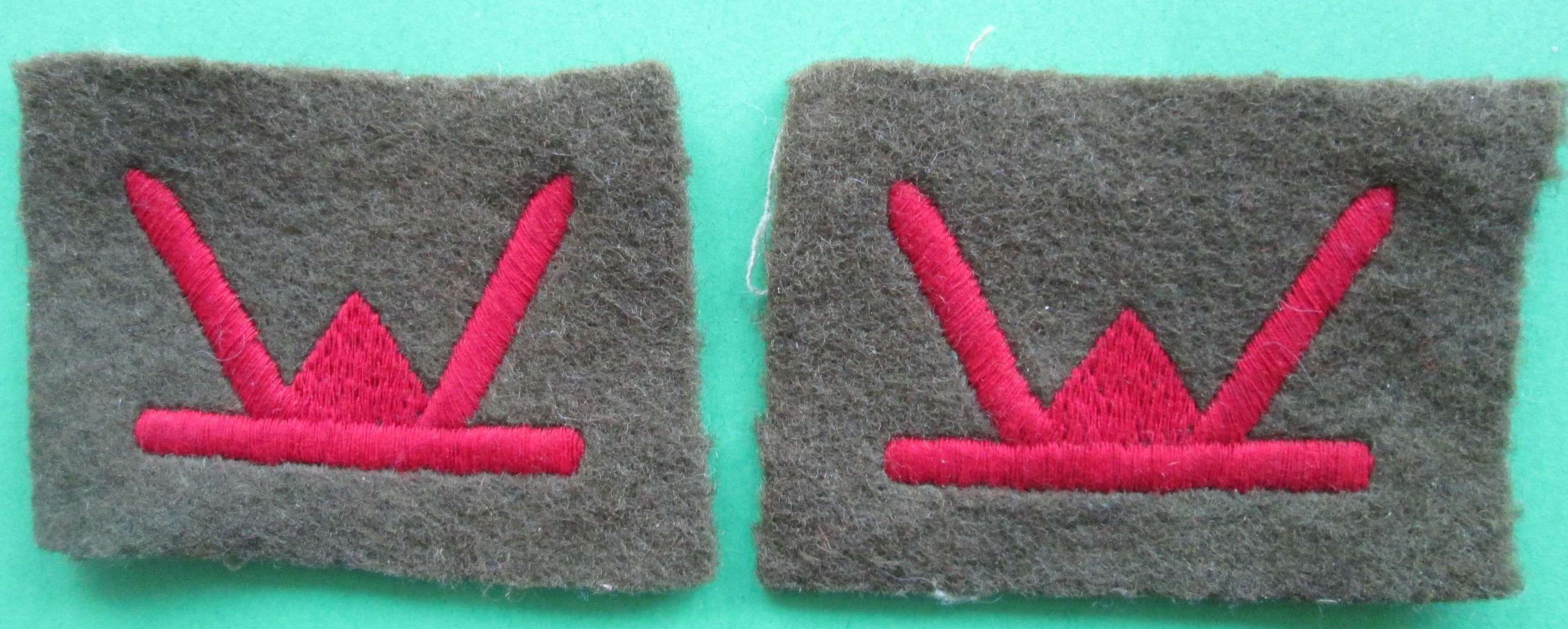 A PAIR OF 53RD (WELCH) DIVISION PATCHES
