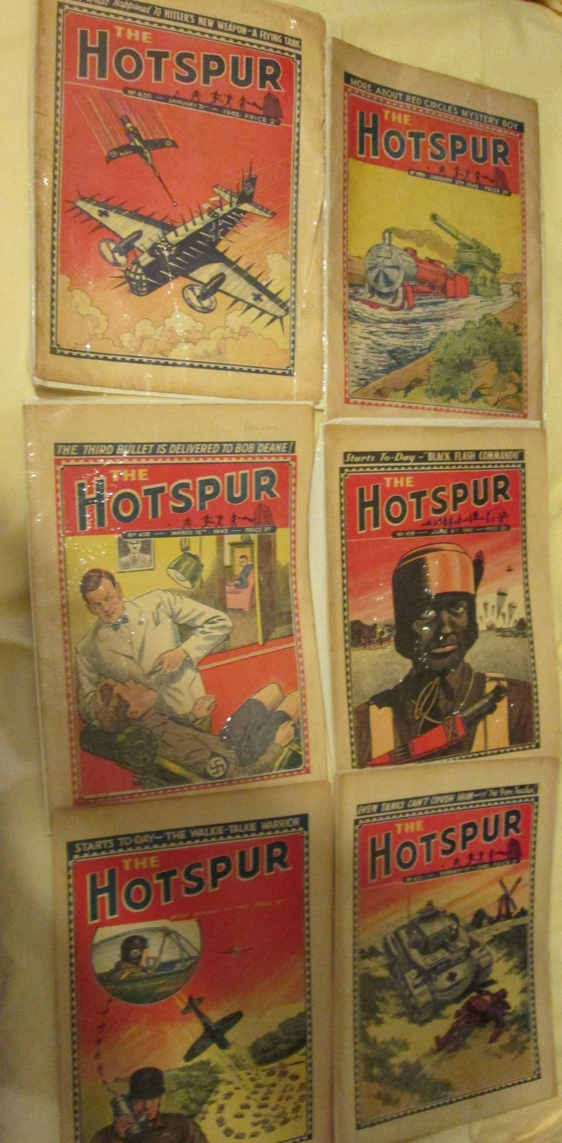 A SELCTION OF 6 WWII THE HOTSPUR COMICS THESE ARE SCARCE