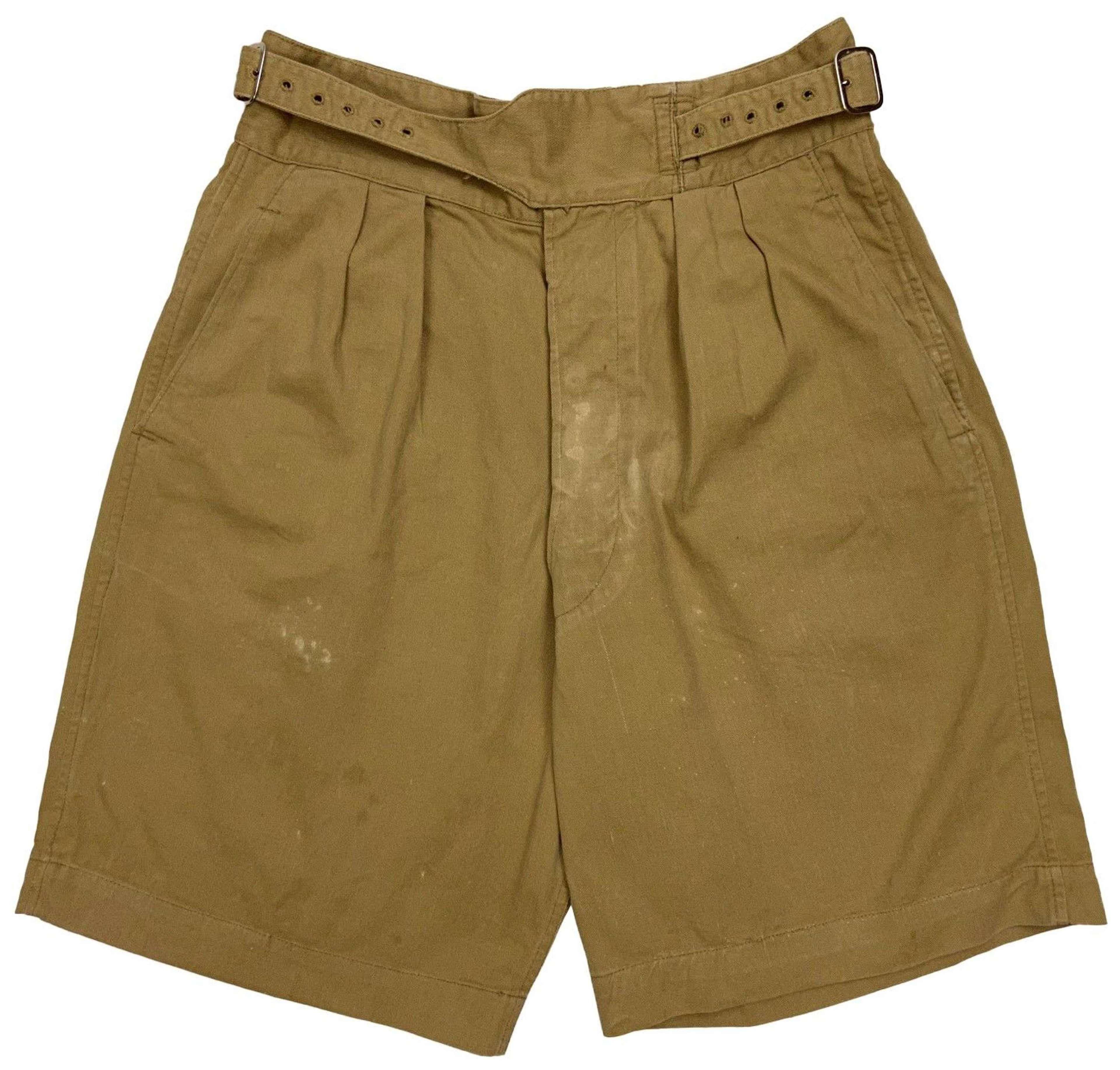 Original 1955 Dated 1950 Pattern Khaki Drill Shorts - Size 8