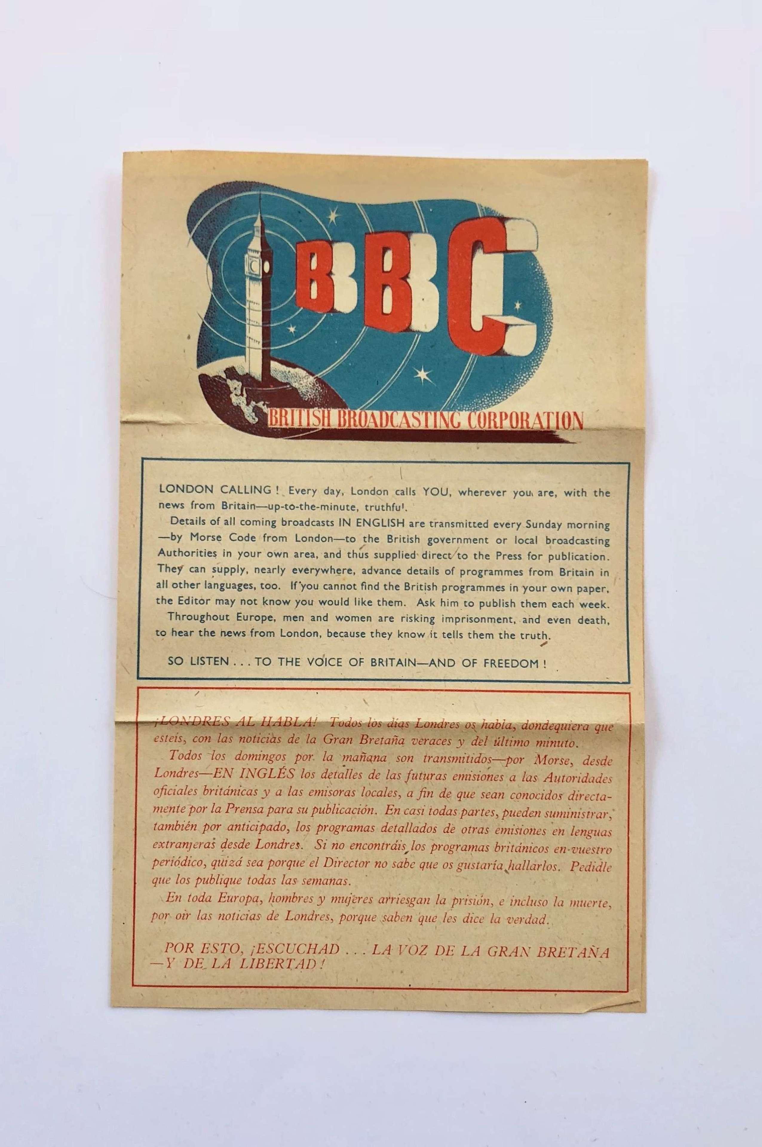WW2 BBC London Calling Leaflet.