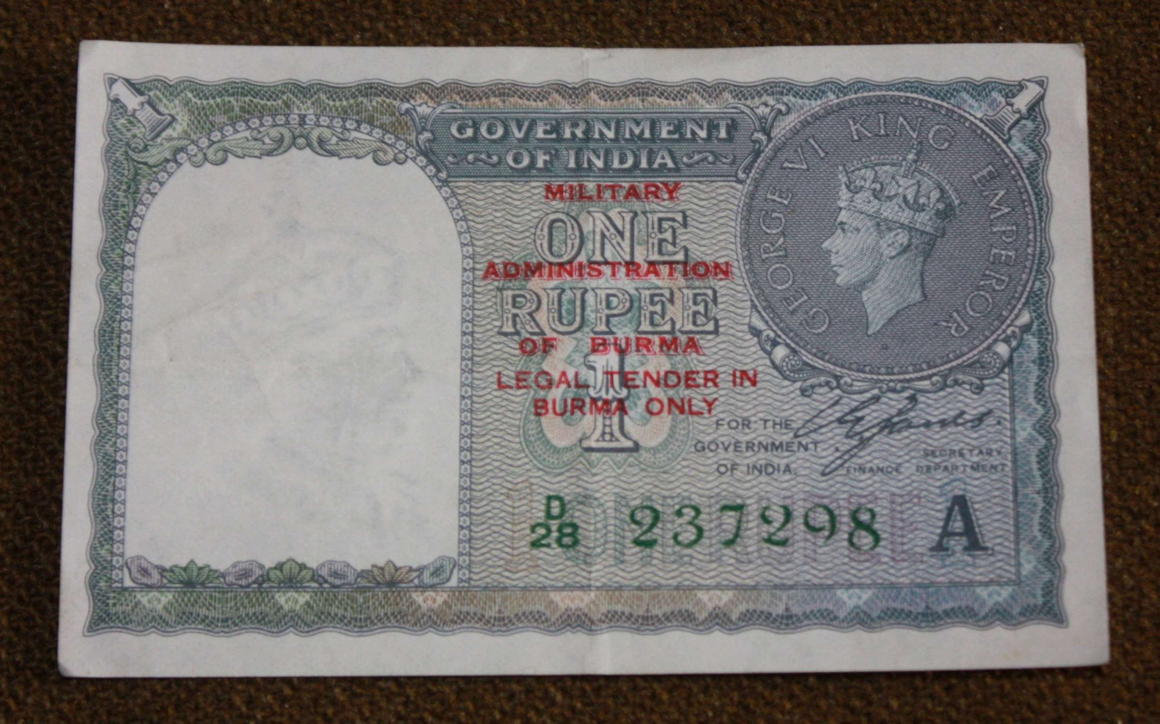 A GOOD WWII BURMA ISSUE BANK NOT INDIAN RUPEE OVER PRINT TYPE 2