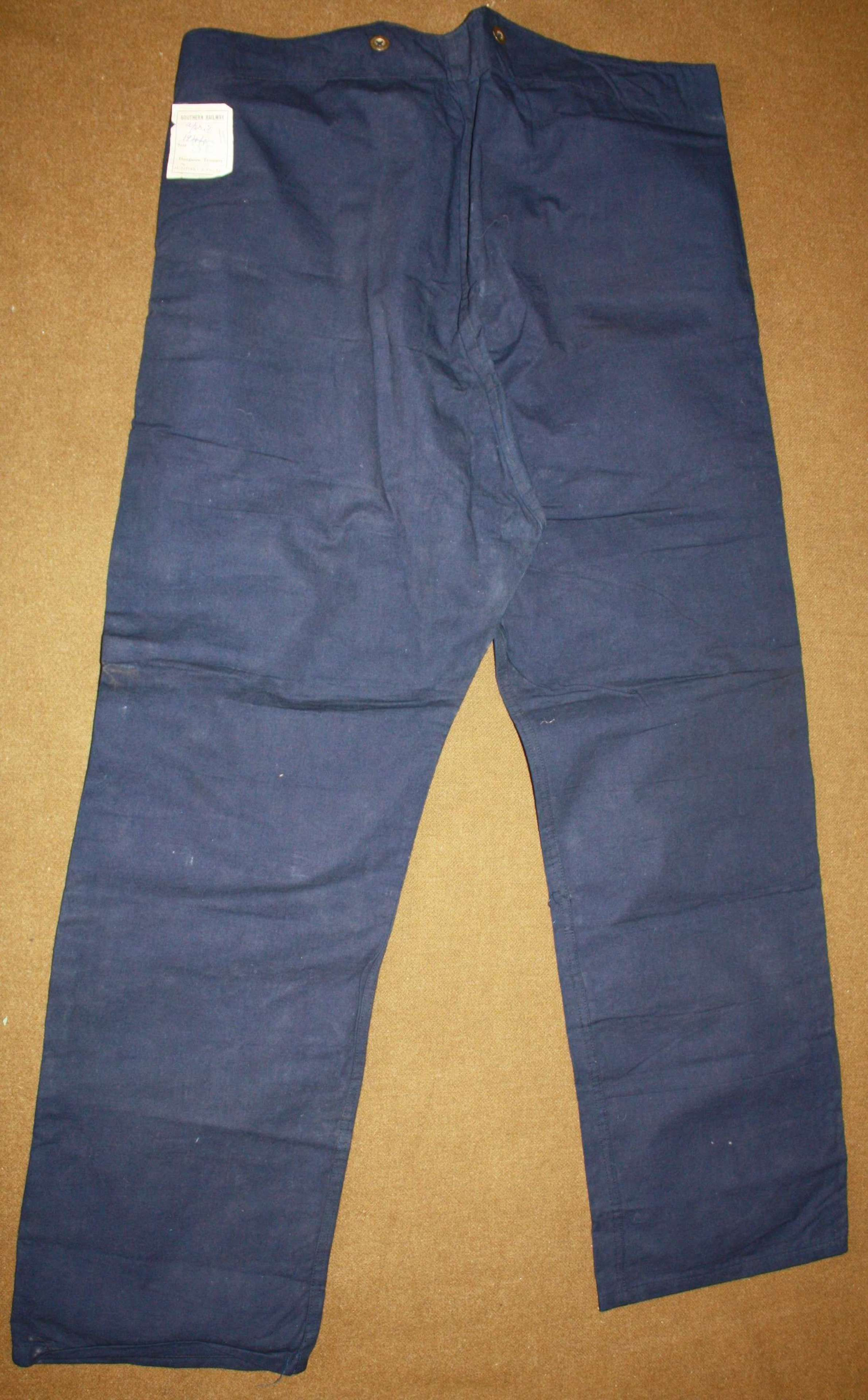 A MINT PAIR OF THE SOUTHERN RAILWAY 1944 DATED CC41 WORK TROUSERS
