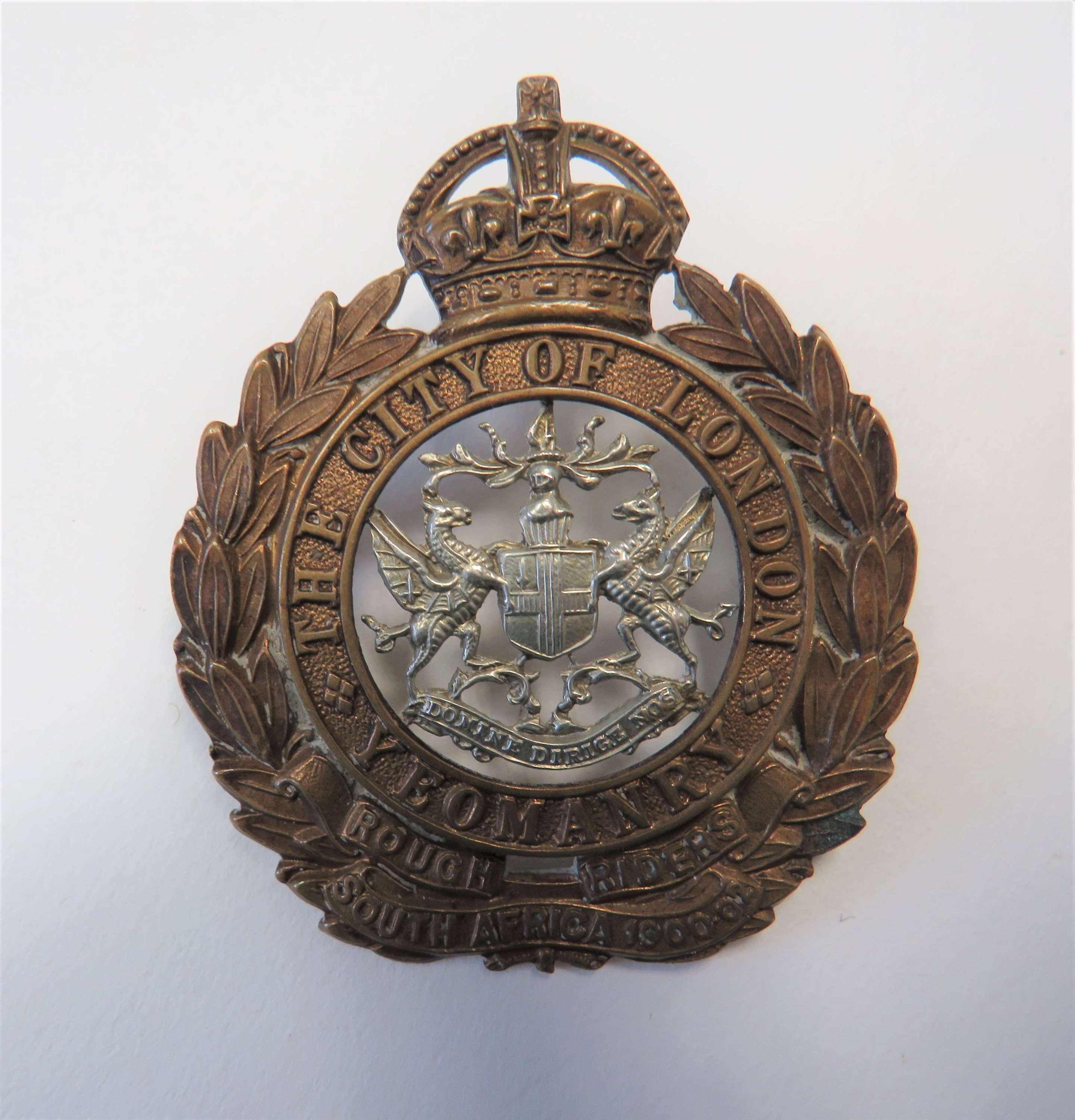 Post 1901 City of London Yeomanry Rough Riders Cap Badge