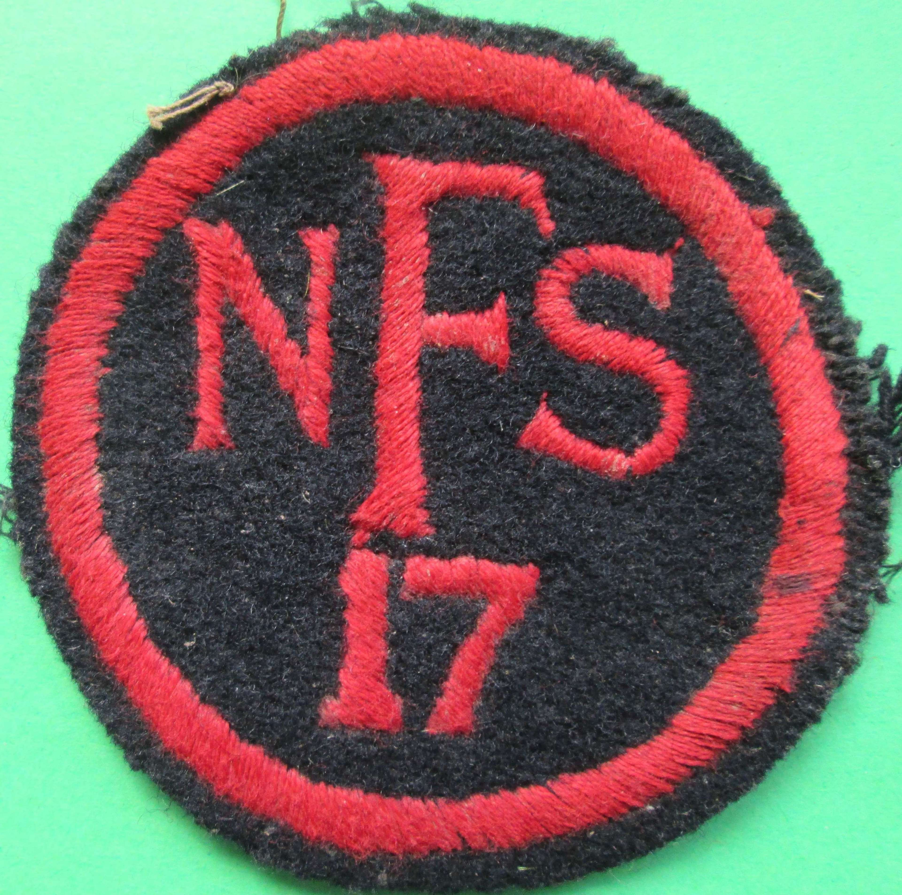 A NATIONAL FIRE SERVICE BADGE FOR AREA 17
