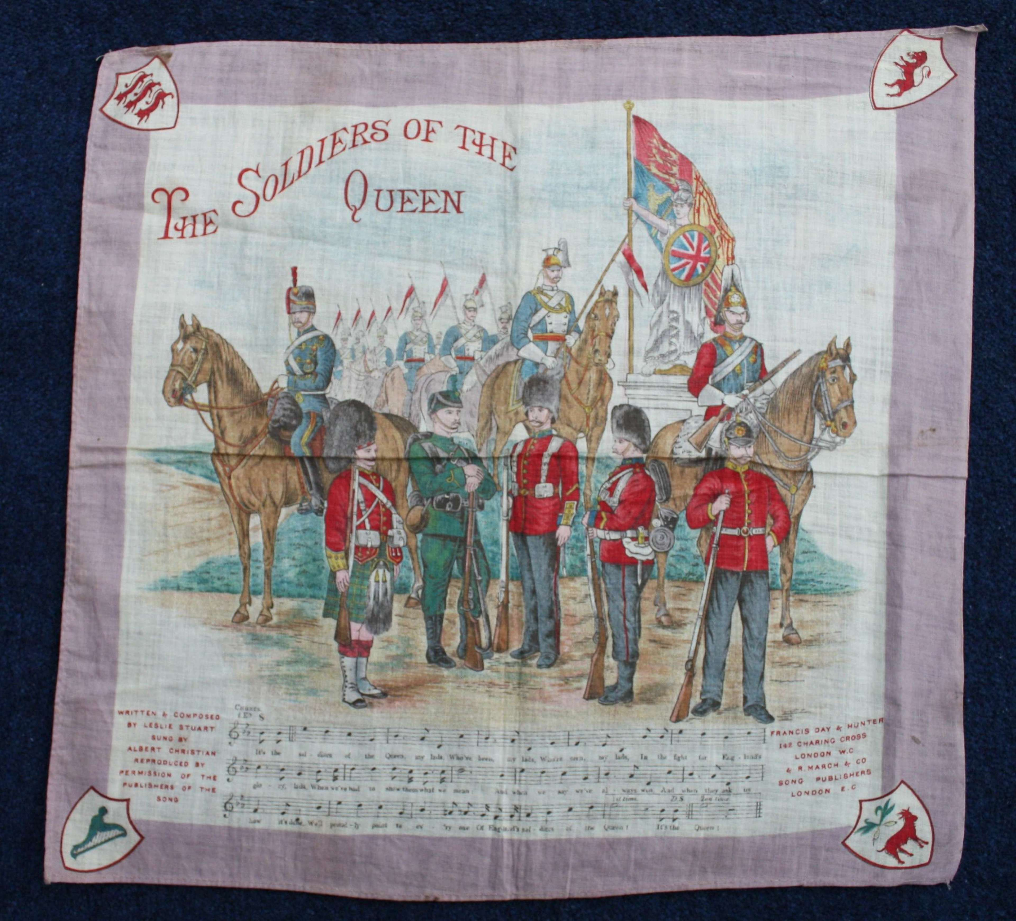 Victorian Boer War Printed cotton Soldiers of the Queen 13 x 13 inches