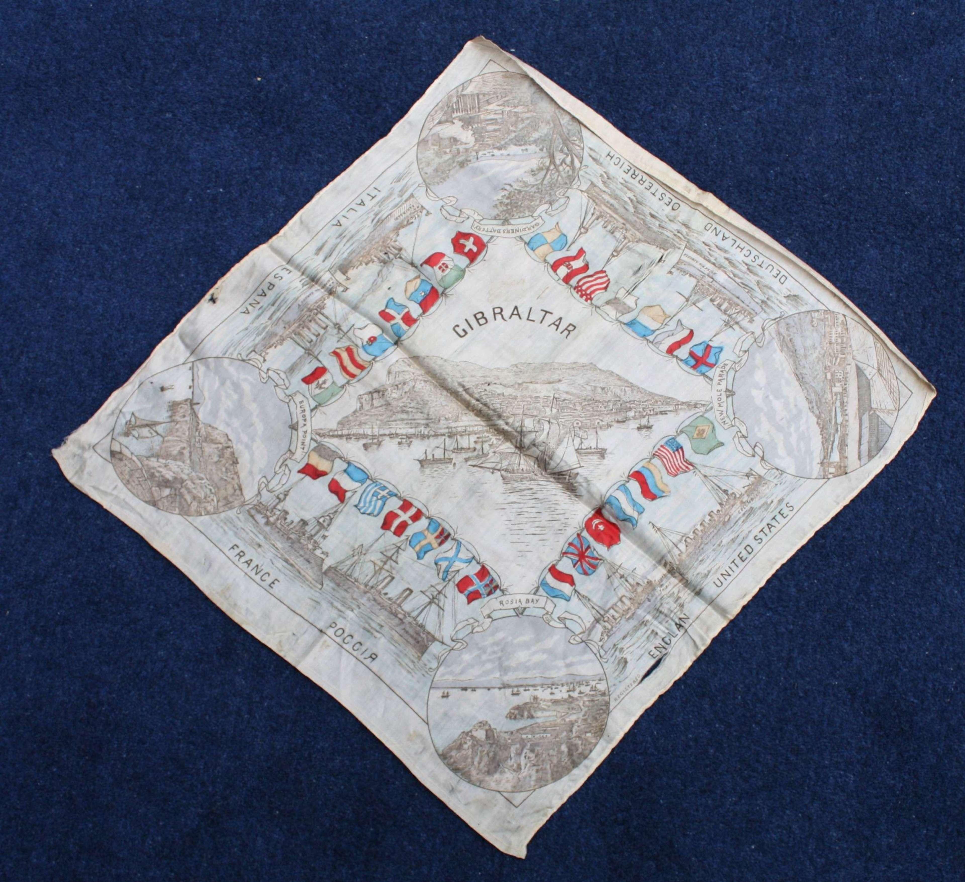WW1 Printed Silk Souvenir of Gibraltar & Allied Ships.