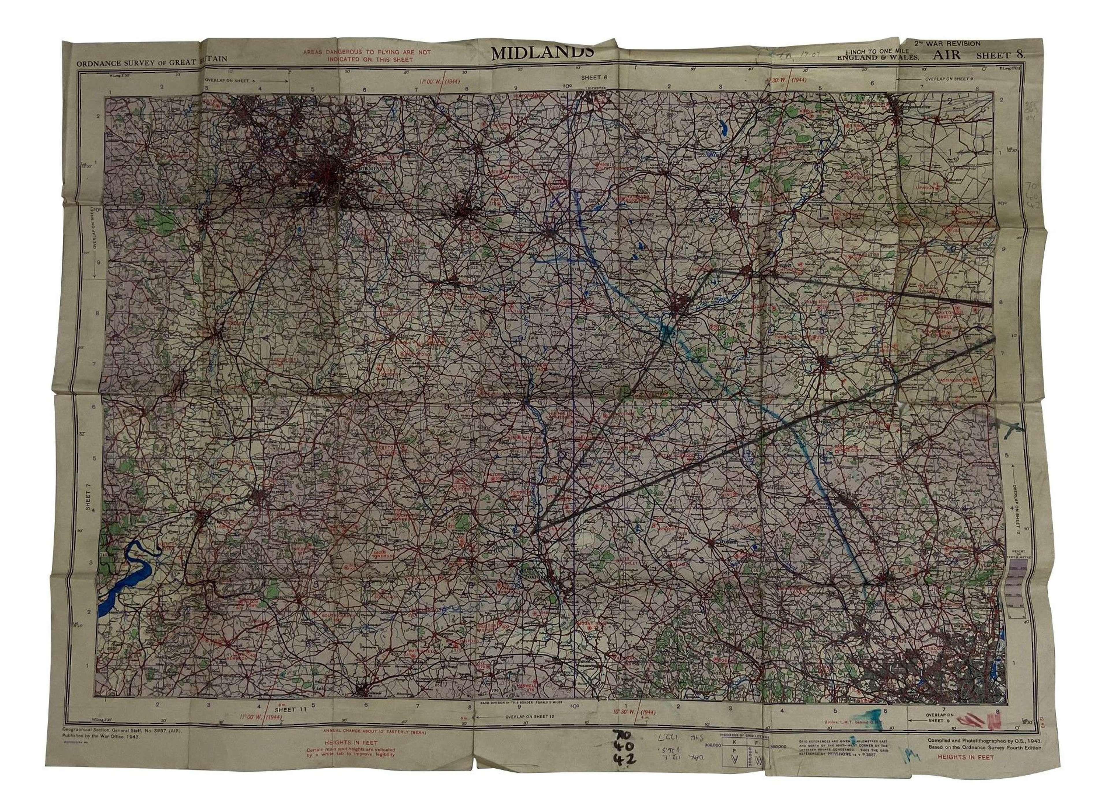 Original 1943 Dated RAF / USAAF Map - Midlands