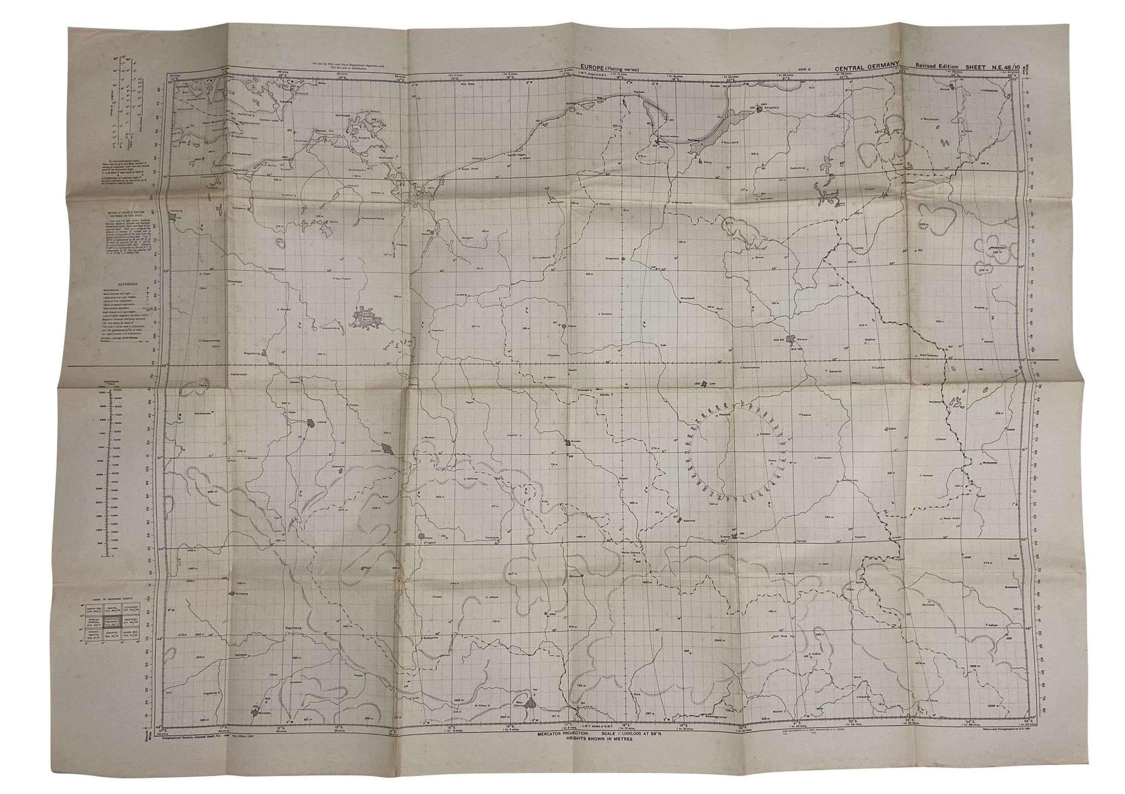 Original 1943 Dated USAAF Plotting Map of Europe