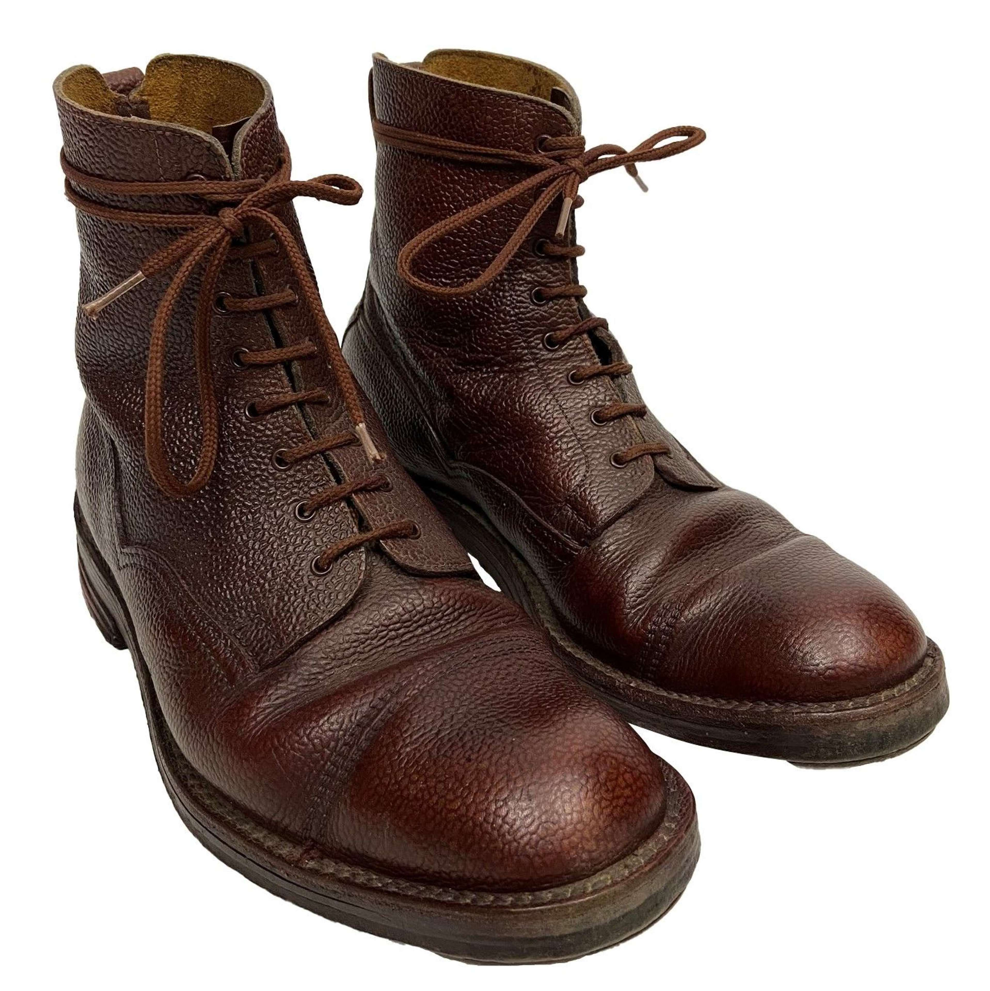 Original British Brown Leather Ankle Boots - Size 8
