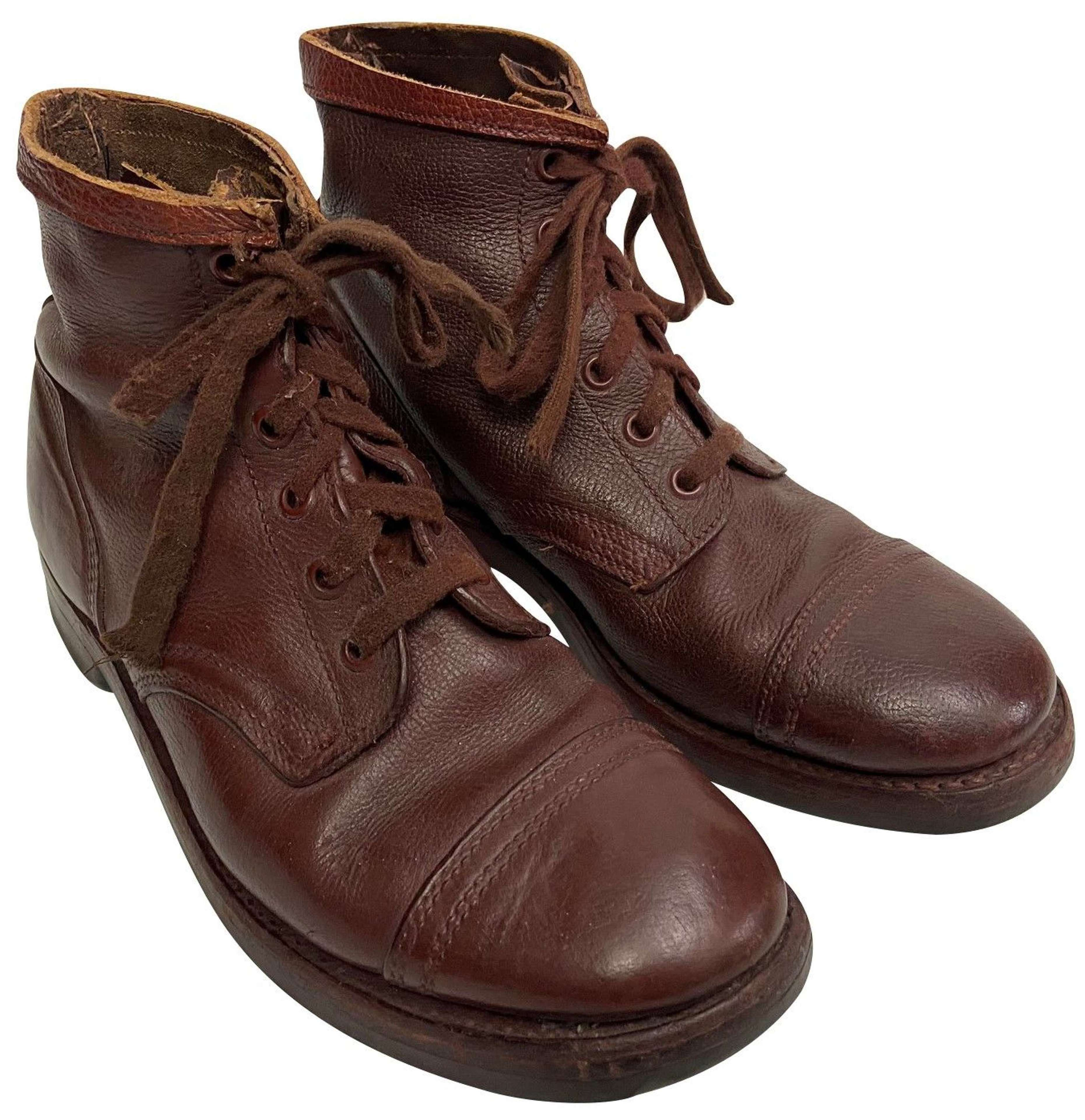 Original 1950s Dutch Military Brown Leather Ankle Boots - Size 10